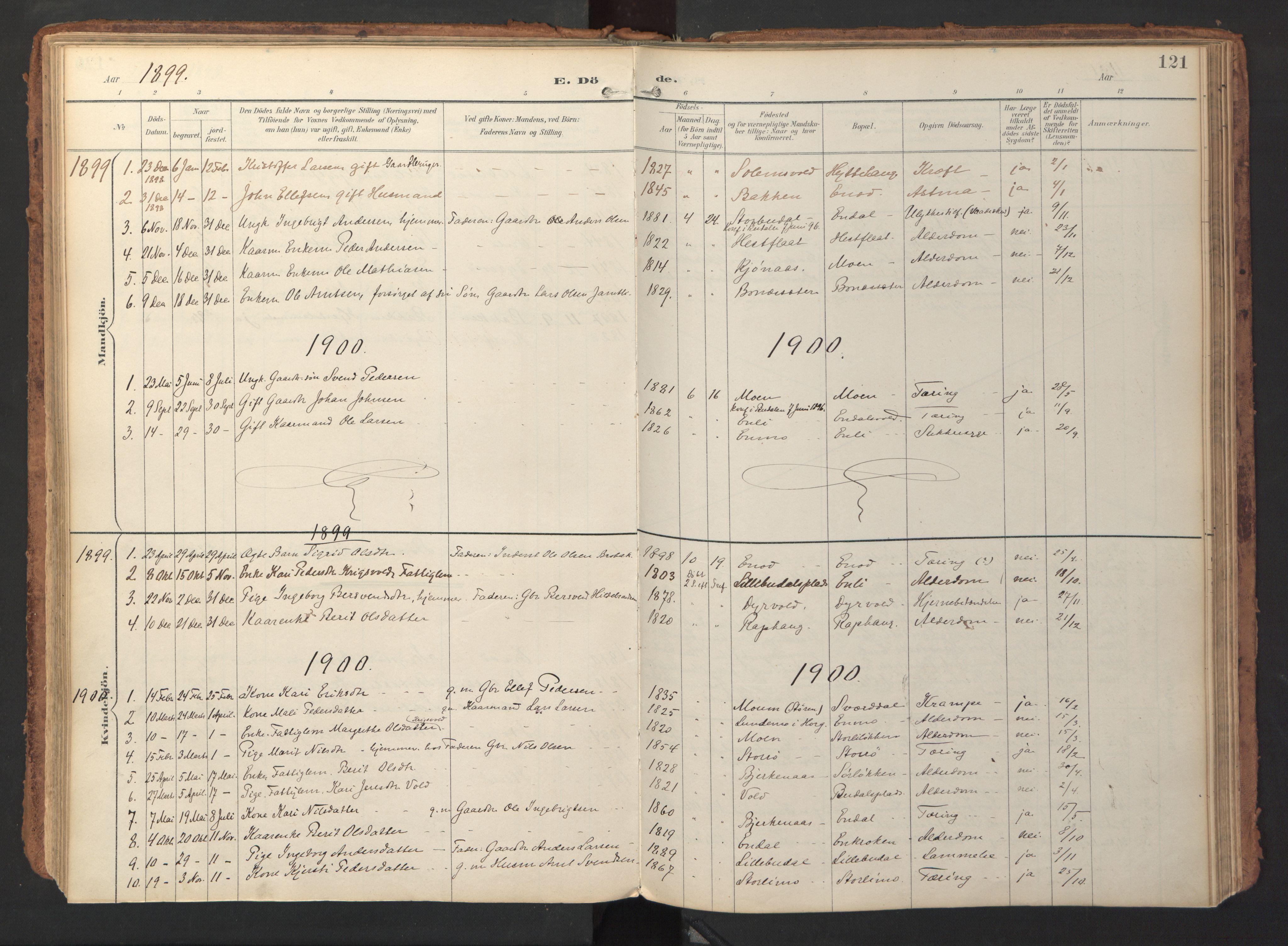SAT, Ministerialprotokoller, klokkerbøker og fødselsregistre - Sør-Trøndelag, 690/L1050: Ministerialbok nr. 690A01, 1889-1929, s. 121