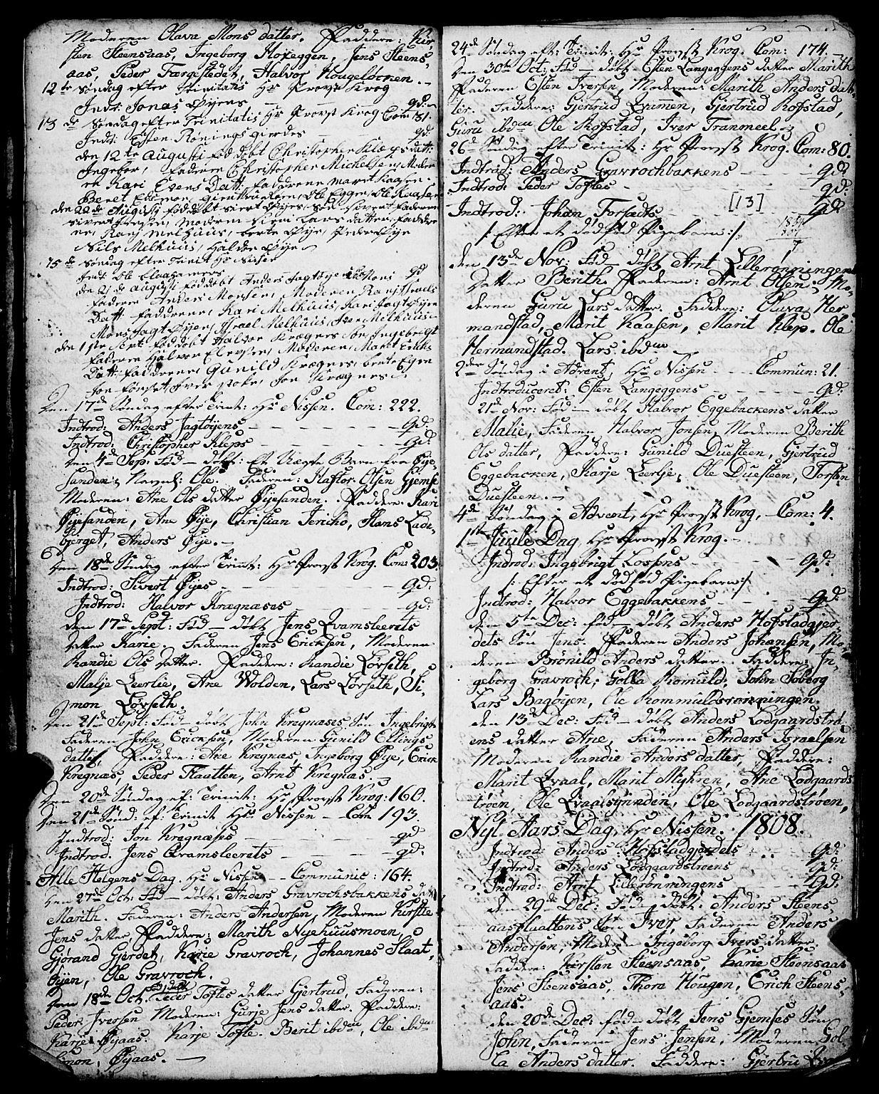 SAT, Ministerialprotokoller, klokkerbøker og fødselsregistre - Sør-Trøndelag, 691/L1091: Klokkerbok nr. 691C02, 1802-1815, s. 13