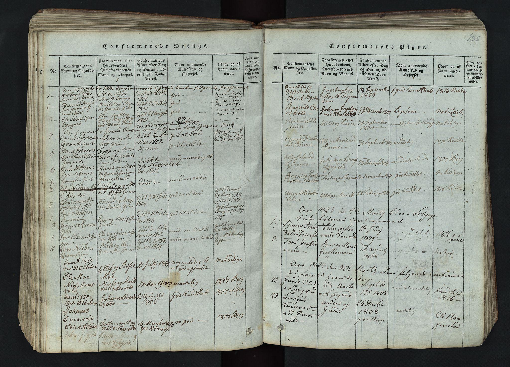 SAH, Lom prestekontor, L/L0002: Klokkerbok nr. 2, 1815-1844, s. 235