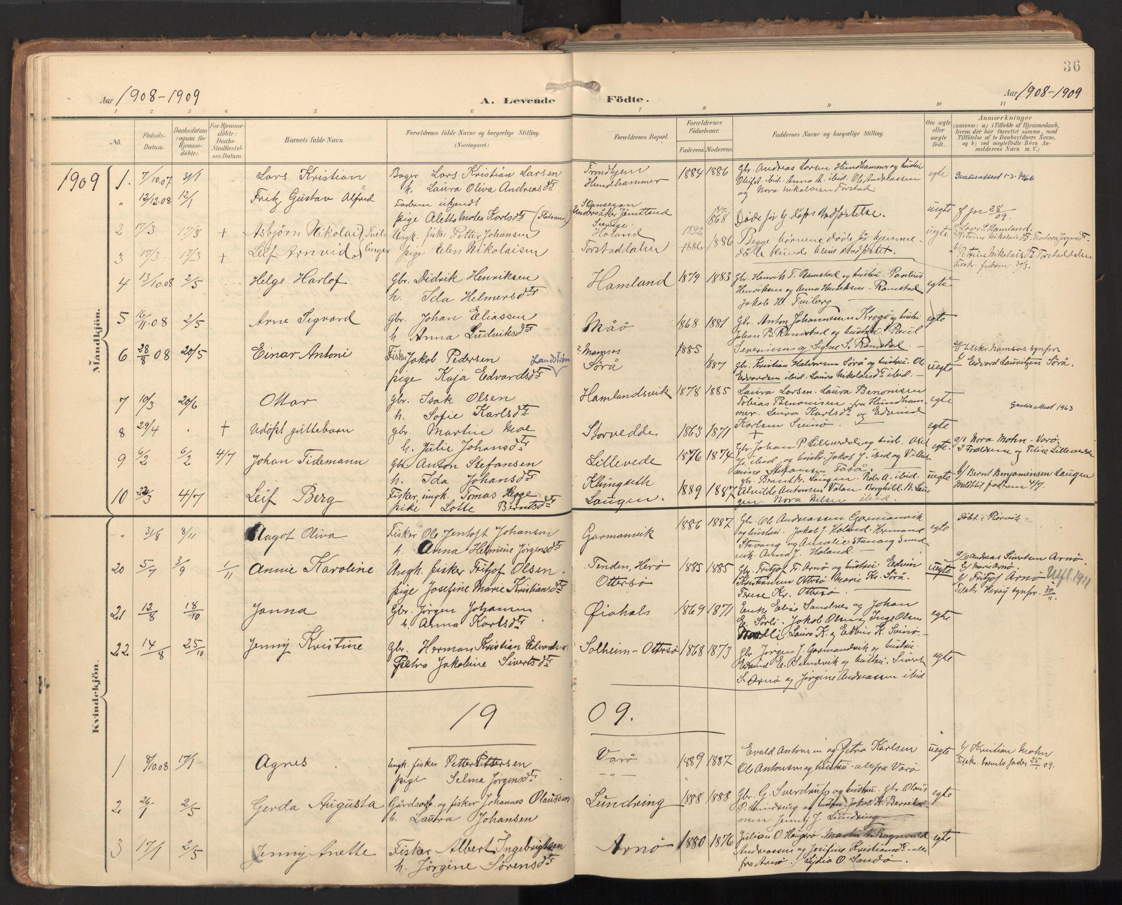 SAT, Ministerialprotokoller, klokkerbøker og fødselsregistre - Nord-Trøndelag, 784/L0677: Ministerialbok nr. 784A12, 1900-1920, s. 36
