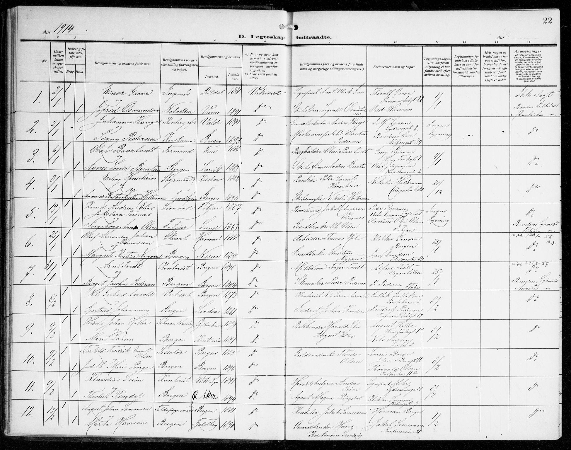 SAB, Johanneskirken Sokneprestembete, H/Haa/L0013: Ministerialbok nr. D 2, 1912-1929, s. 22