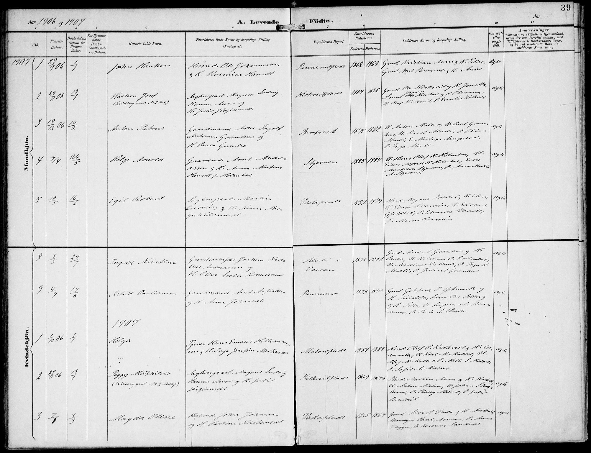 SAT, Ministerialprotokoller, klokkerbøker og fødselsregistre - Nord-Trøndelag, 745/L0430: Ministerialbok nr. 745A02, 1895-1913, s. 39