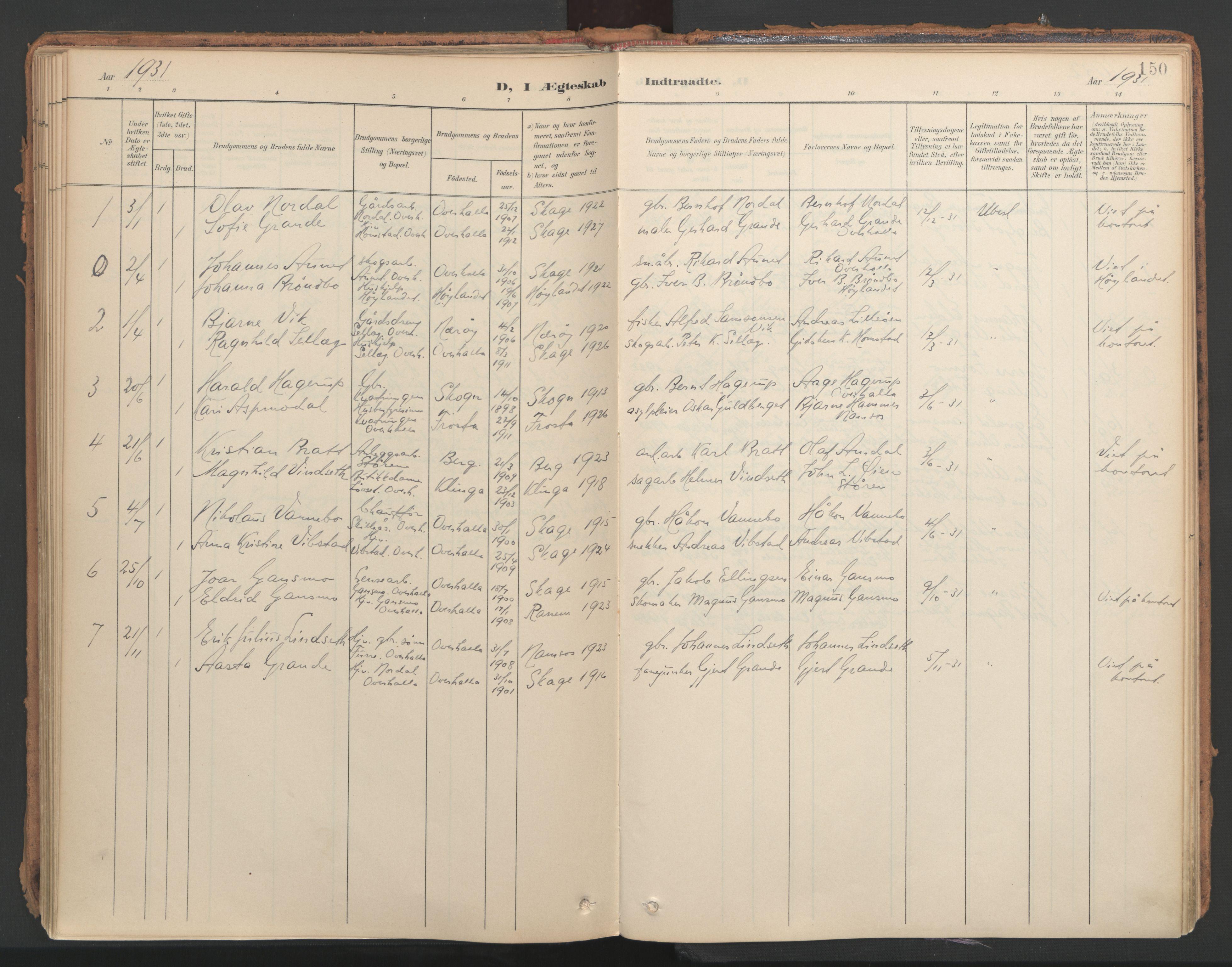 SAT, Ministerialprotokoller, klokkerbøker og fødselsregistre - Nord-Trøndelag, 766/L0564: Ministerialbok nr. 767A02, 1900-1932, s. 150