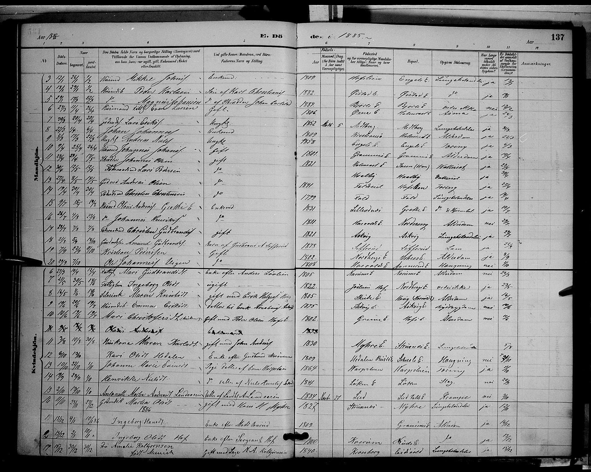 SAH, Søndre Land prestekontor, L/L0002: Klokkerbok nr. 2, 1884-1900, s. 137