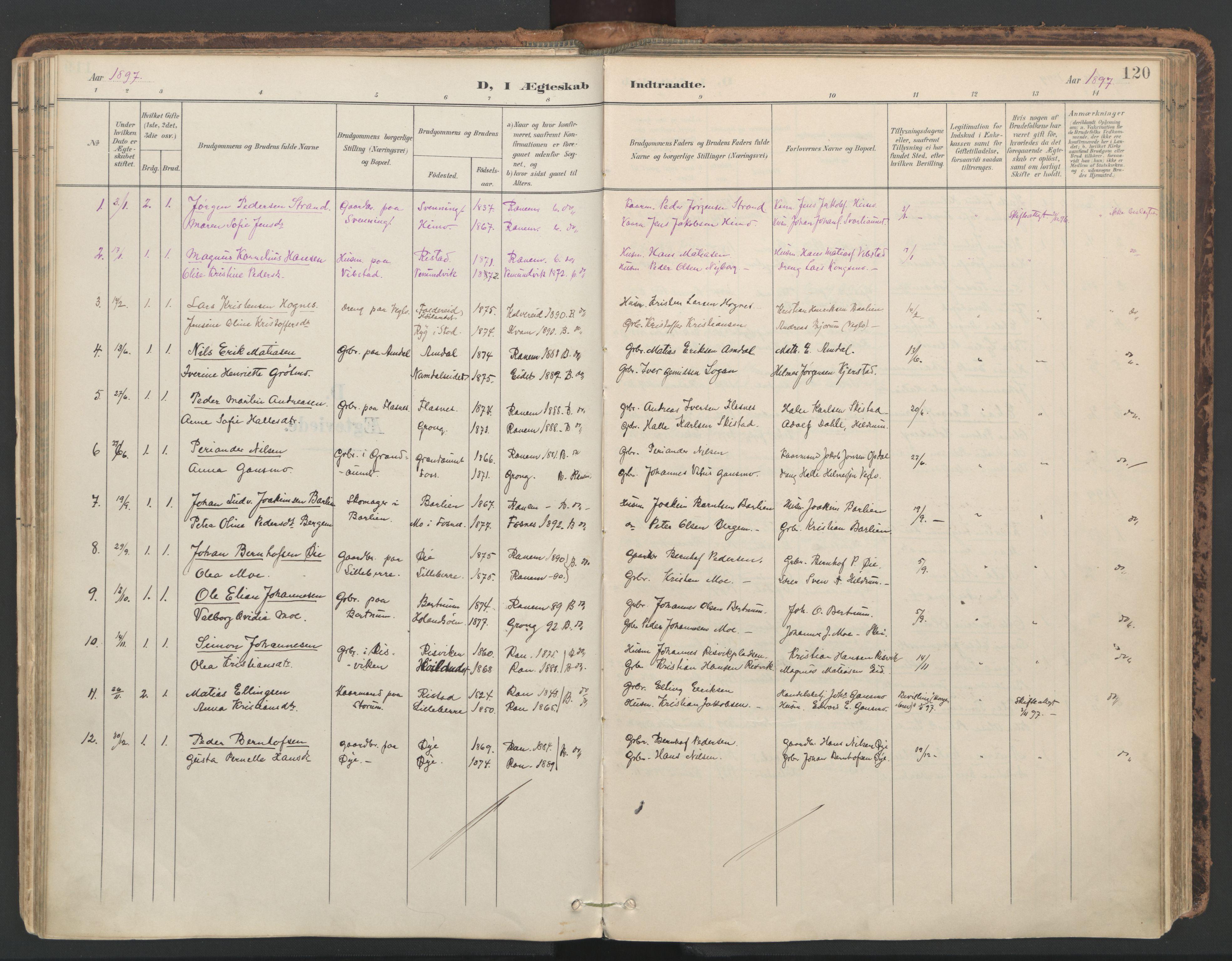 SAT, Ministerialprotokoller, klokkerbøker og fødselsregistre - Nord-Trøndelag, 764/L0556: Ministerialbok nr. 764A11, 1897-1924, s. 120