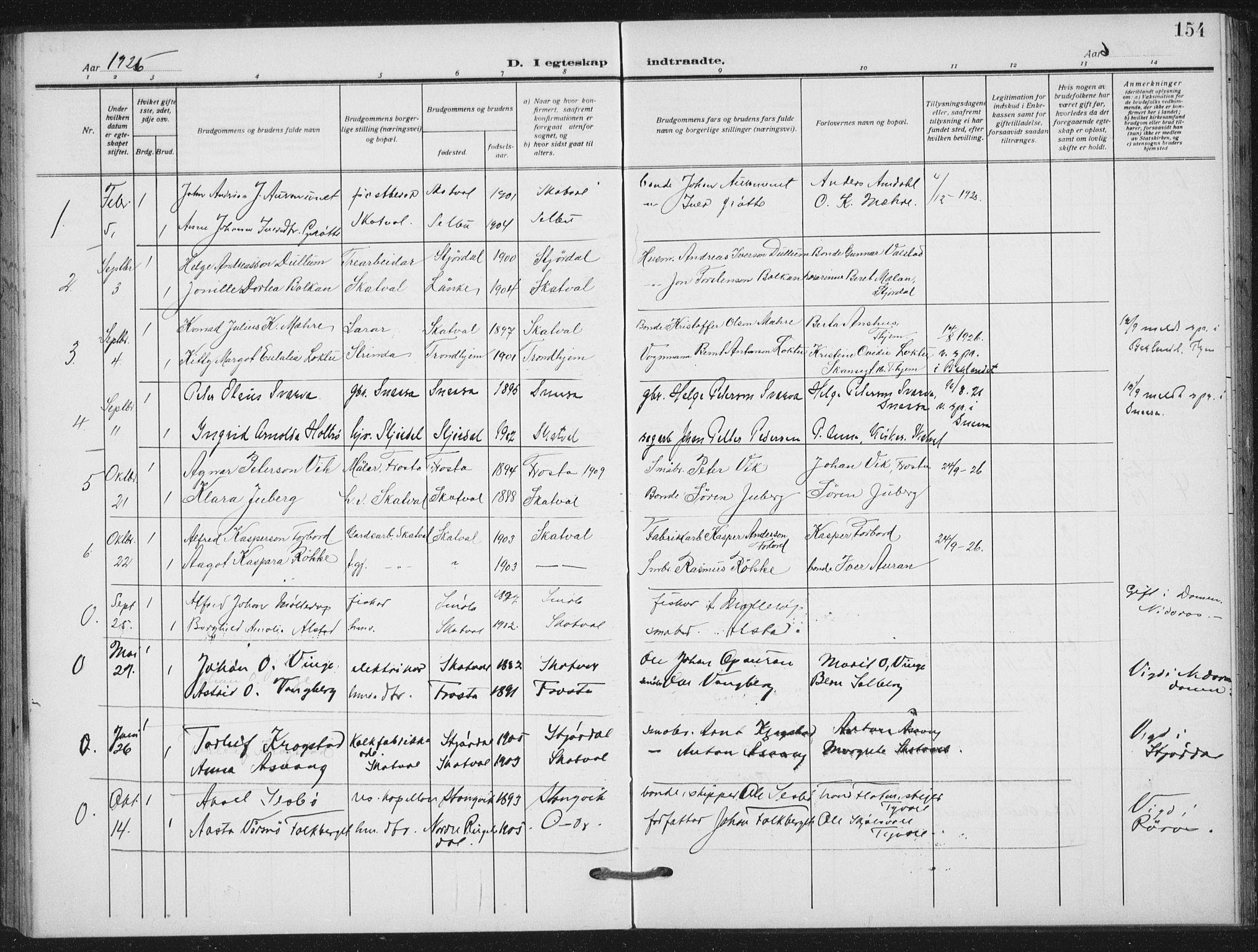 SAT, Ministerialprotokoller, klokkerbøker og fødselsregistre - Nord-Trøndelag, 712/L0102: Ministerialbok nr. 712A03, 1916-1929, s. 154