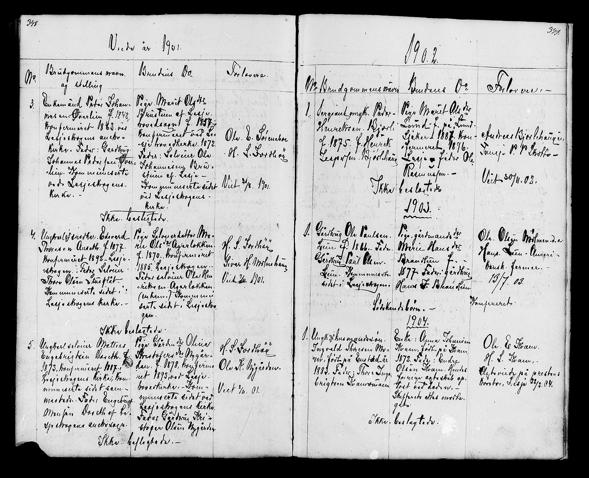 SAH, Lesja prestekontor, Klokkerbok nr. 6, 1871-1904, s. 348-349