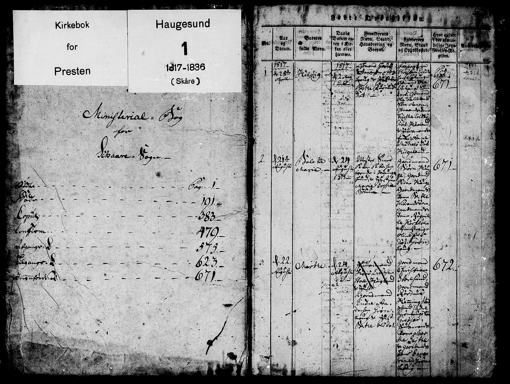 SAST, Torvastad sokneprestkontor, H/Ha/Haa/L0004: Ministerialbok nr. A 4, 1817-1836, s. 1