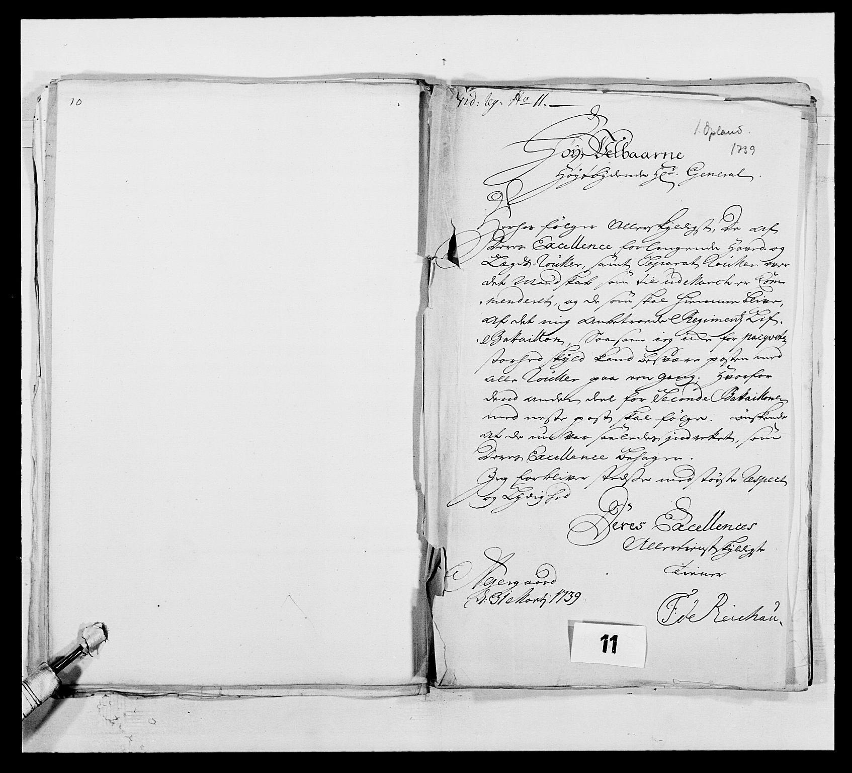 RA, Kommanderende general (KG I) med Det norske krigsdirektorium, E/Ea/L0502: 1. Opplandske regiment, 1720-1743, s. 118