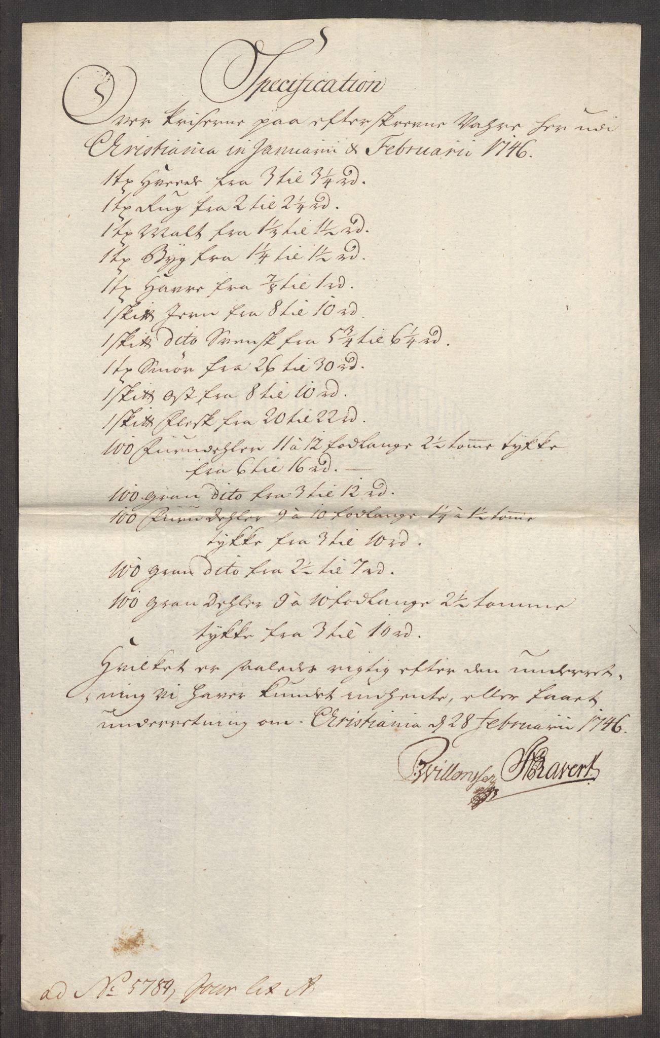 RA, Rentekammeret inntil 1814, Realistisk ordnet avdeling, Oe/L0003: [Ø1]: Priskuranter, 1745-1748, s. 275