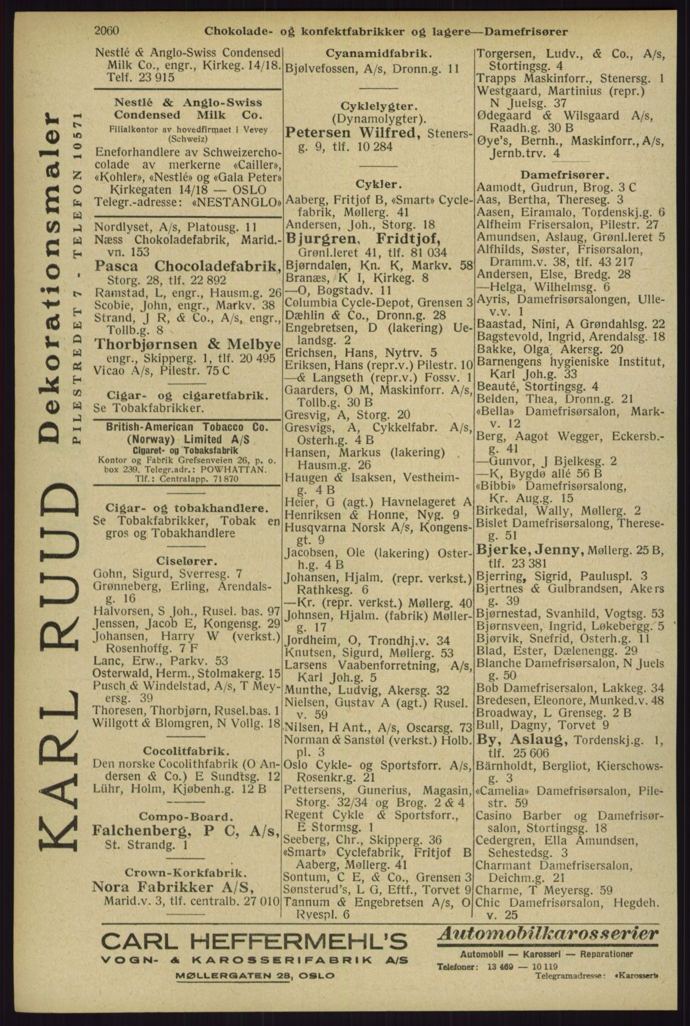 RA, Oslo adressebok (publikasjon)*, 1929, s. 2060