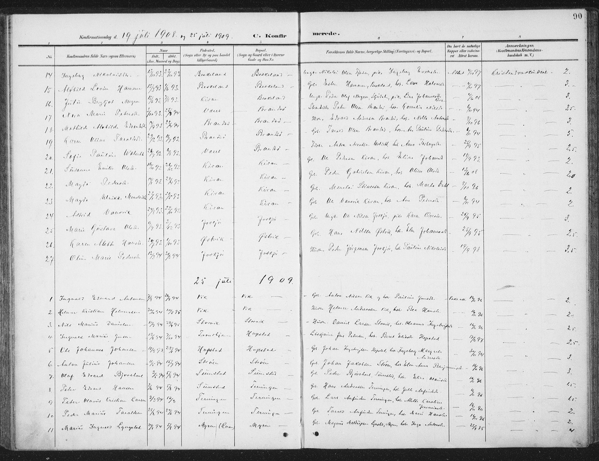 SAT, Ministerialprotokoller, klokkerbøker og fødselsregistre - Sør-Trøndelag, 657/L0709: Ministerialbok nr. 657A10, 1905-1919, s. 90
