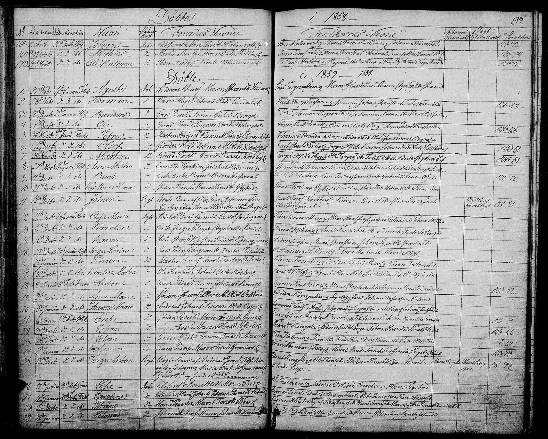 SAH, Søndre Land prestekontor, L/L0001: Klokkerbok nr. 1, 1849-1883, s. 39