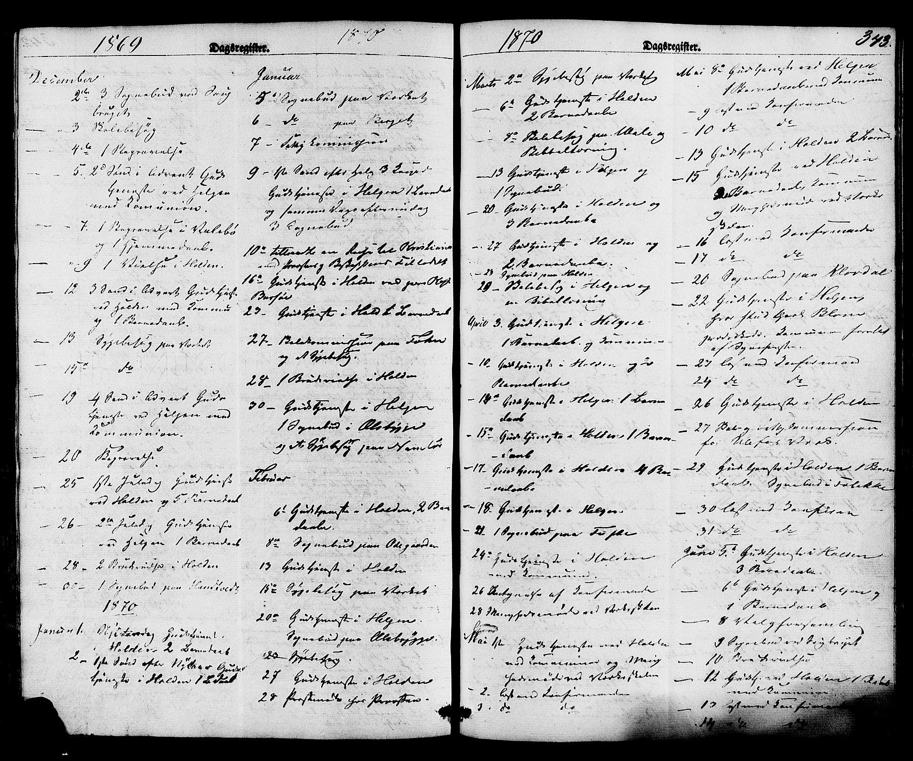 SAKO, Holla kirkebøker, F/Fa/L0007: Ministerialbok nr. 7, 1869-1881, s. 343