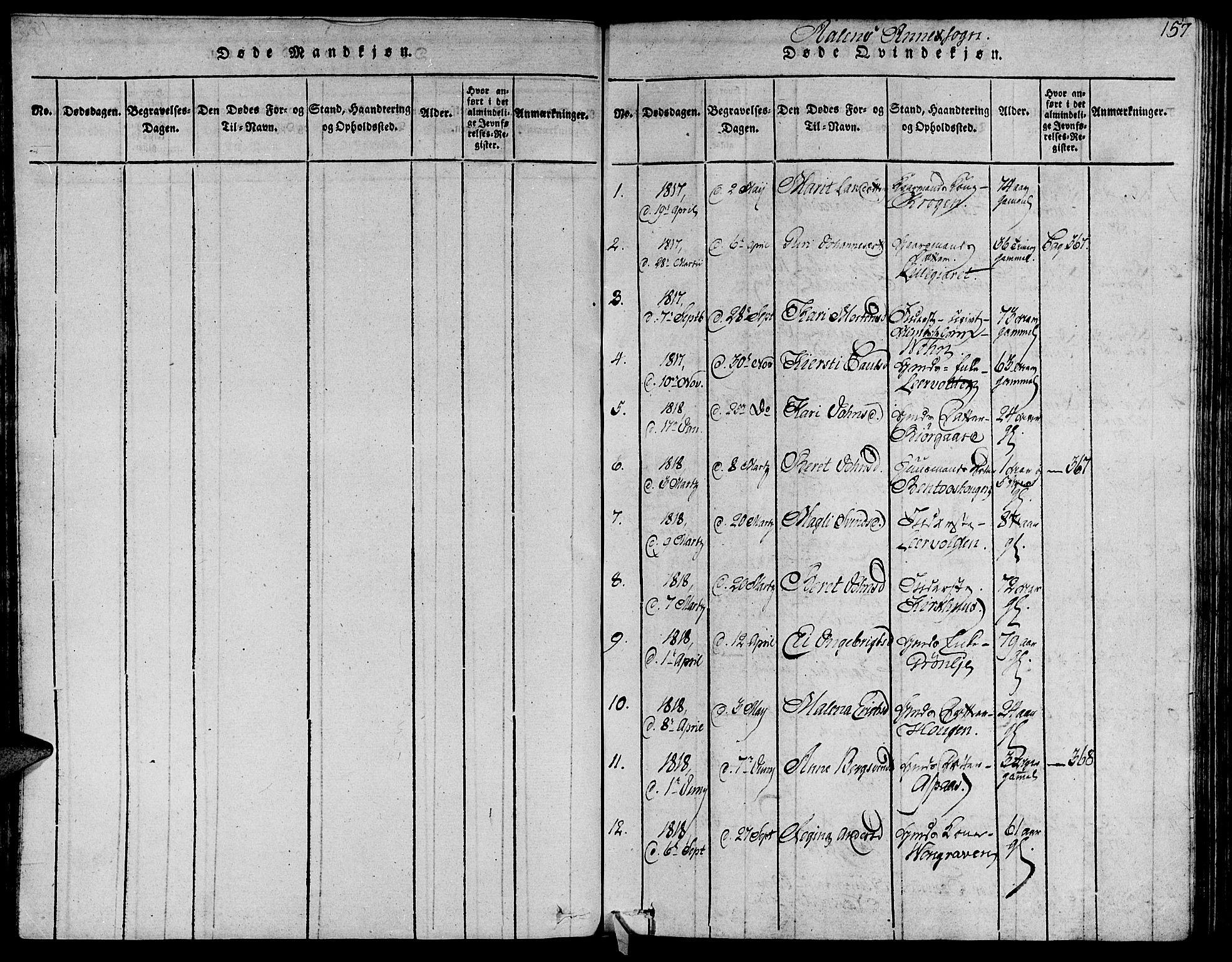 SAT, Ministerialprotokoller, klokkerbøker og fødselsregistre - Sør-Trøndelag, 685/L0956: Ministerialbok nr. 685A03 /3, 1817-1829, s. 157