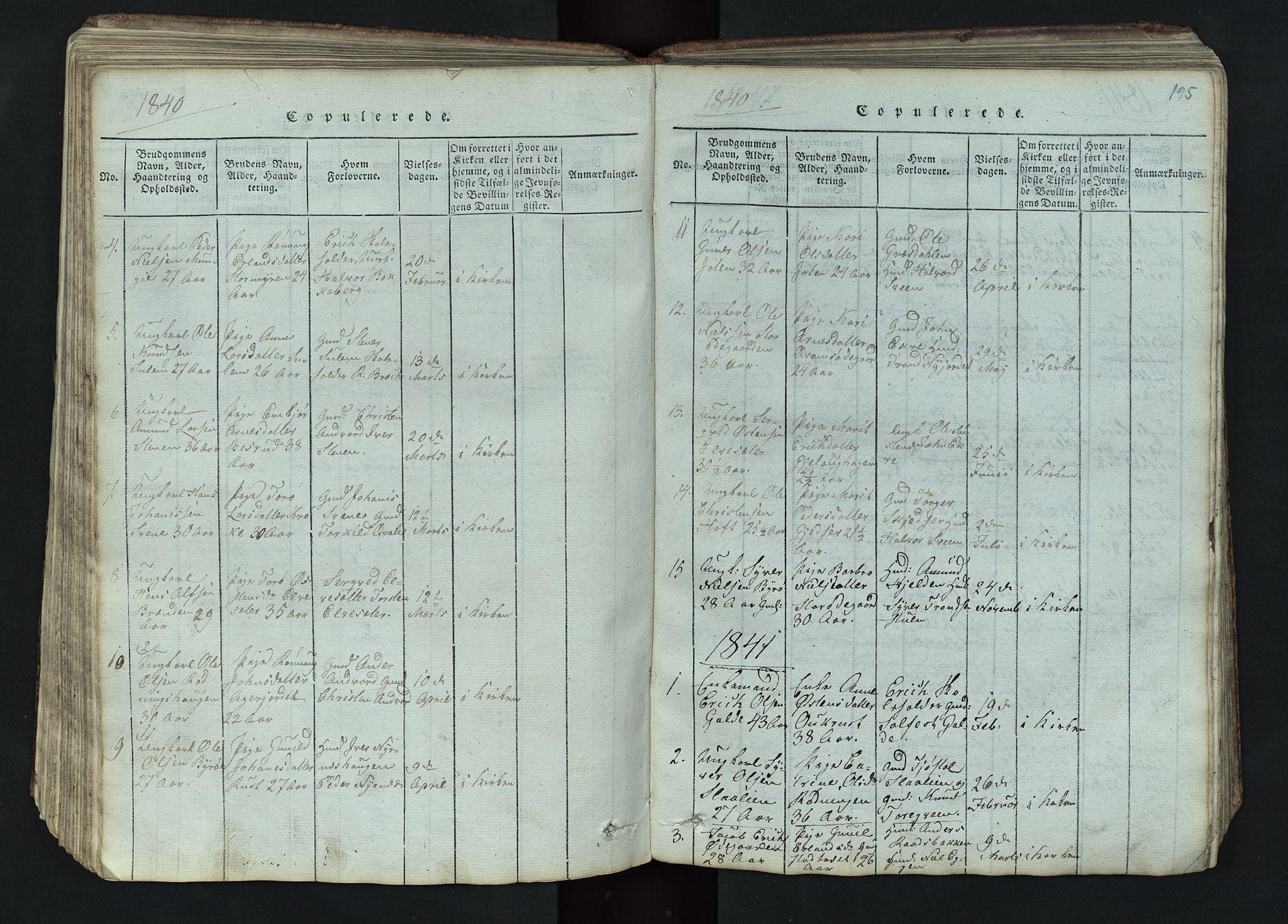SAH, Lom prestekontor, L/L0002: Klokkerbok nr. 2, 1815-1844, s. 195