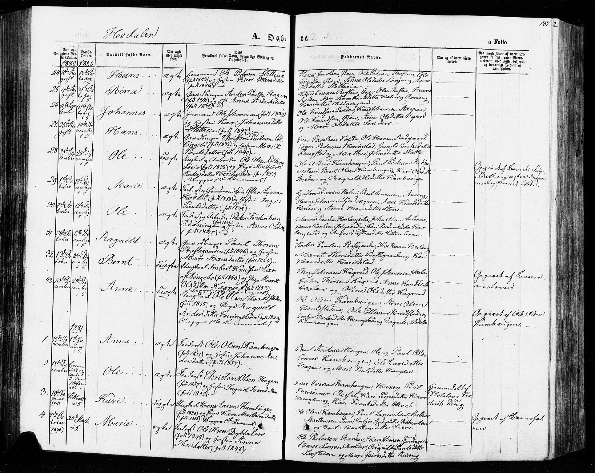 SAH, Vågå prestekontor, Ministerialbok nr. 7 /2, 1873-1886, s. 187