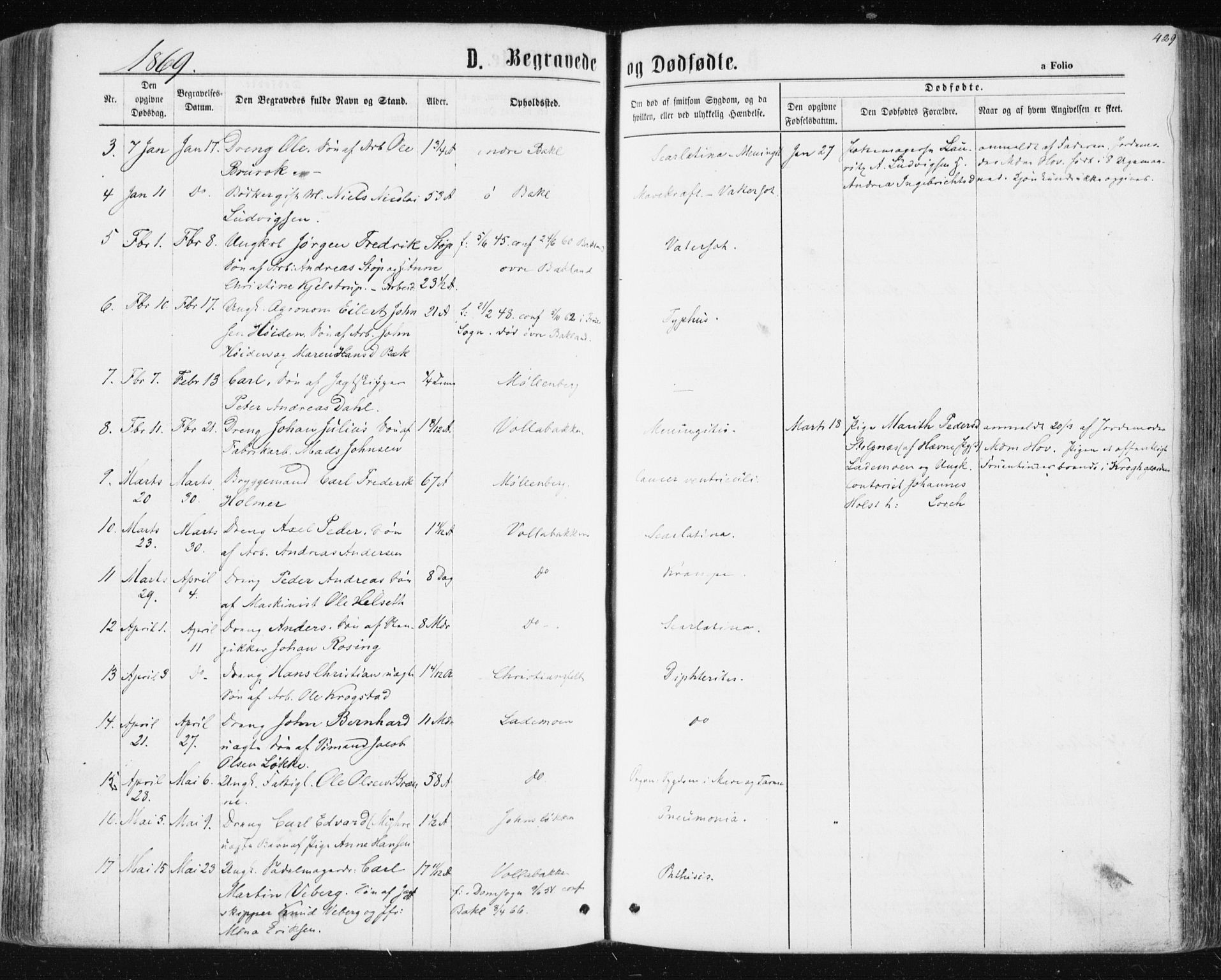 SAT, Ministerialprotokoller, klokkerbøker og fødselsregistre - Sør-Trøndelag, 604/L0186: Ministerialbok nr. 604A07, 1866-1877, s. 429