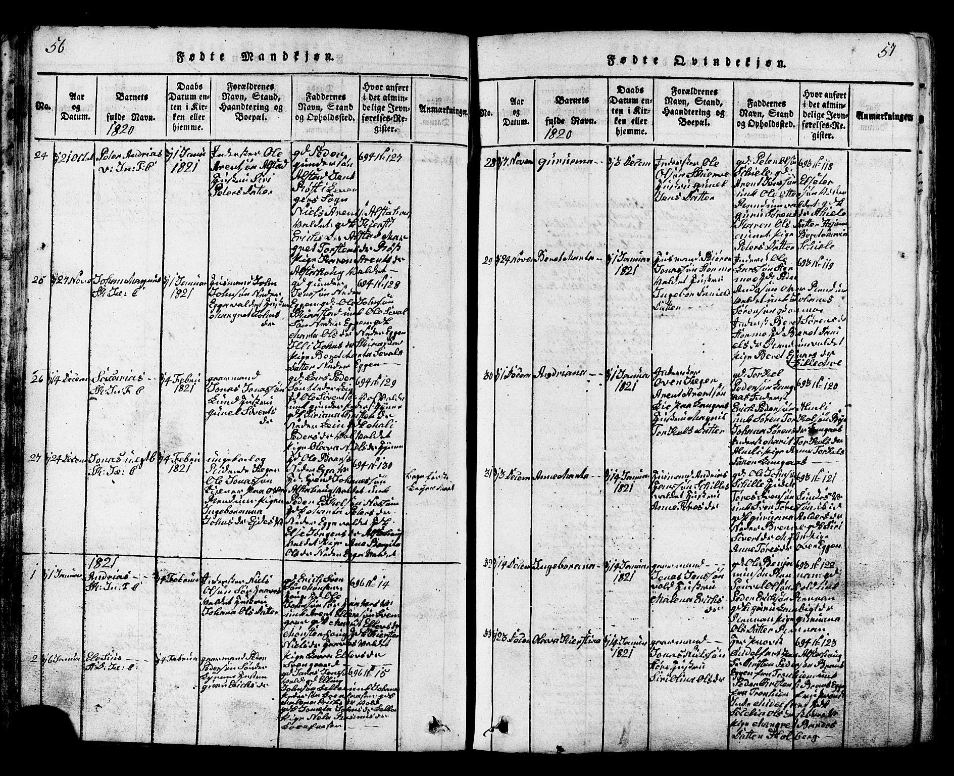 SAT, Ministerialprotokoller, klokkerbøker og fødselsregistre - Nord-Trøndelag, 717/L0169: Klokkerbok nr. 717C01, 1816-1834, s. 56-57