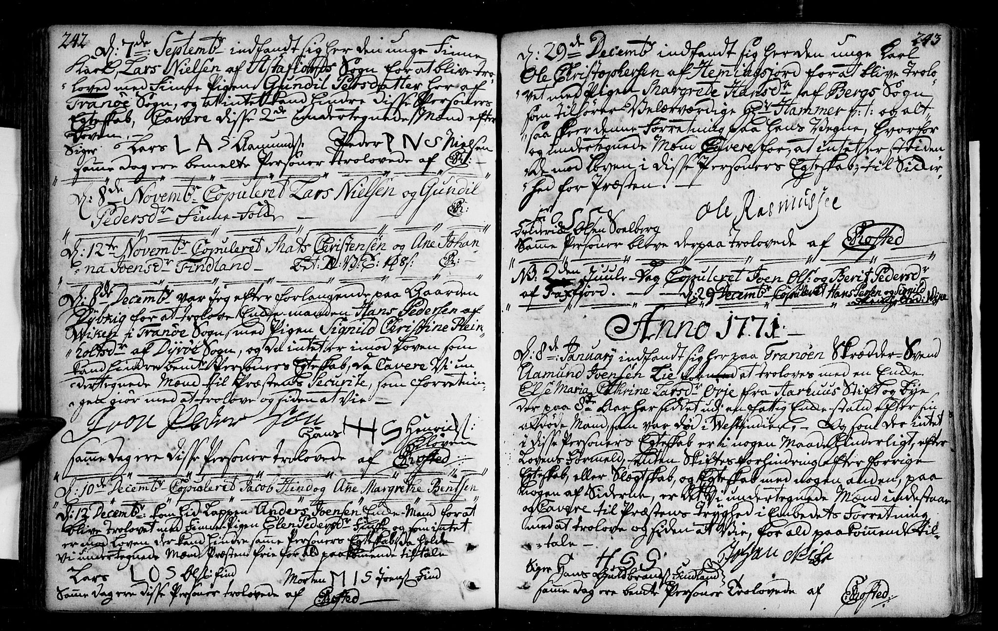 SATØ, Tranøy sokneprestkontor, I/Ia/Iaa/L0001kirke: Ministerialbok nr. 1, 1757-1773, s. 242-243