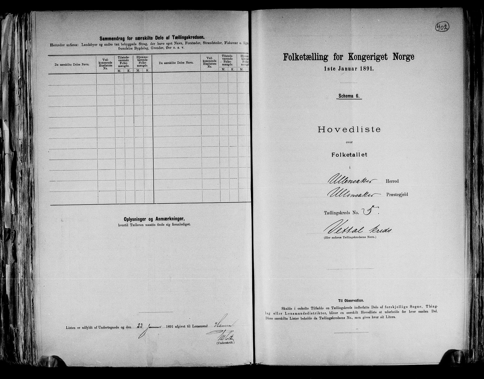 RA, Folketelling 1891 for 0235 Ullensaker herred, 1891, s. 12