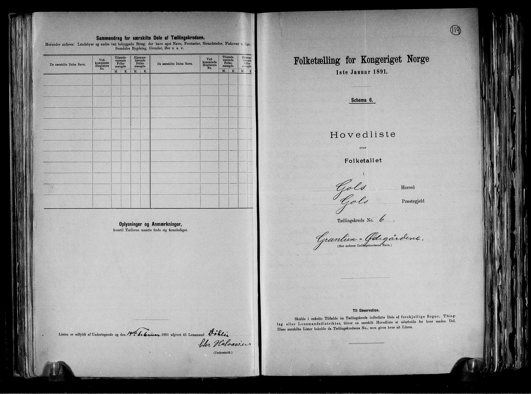 RA, Folketelling 1891 for 0617 Gol og Hemsedal herred, 1891, s. 14
