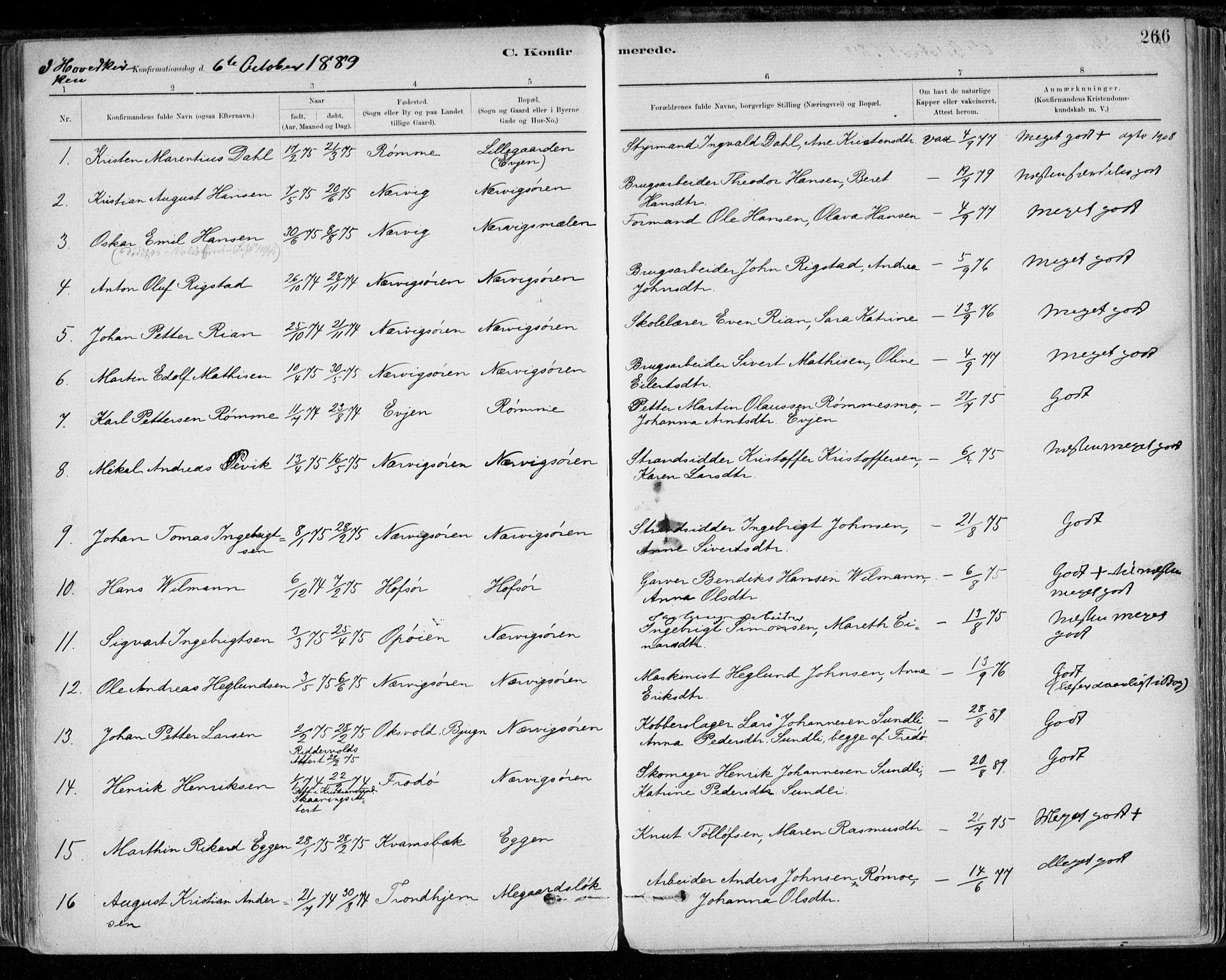 SAT, Ministerialprotokoller, klokkerbøker og fødselsregistre - Sør-Trøndelag, 668/L0809: Ministerialbok nr. 668A09, 1881-1895, s. 266