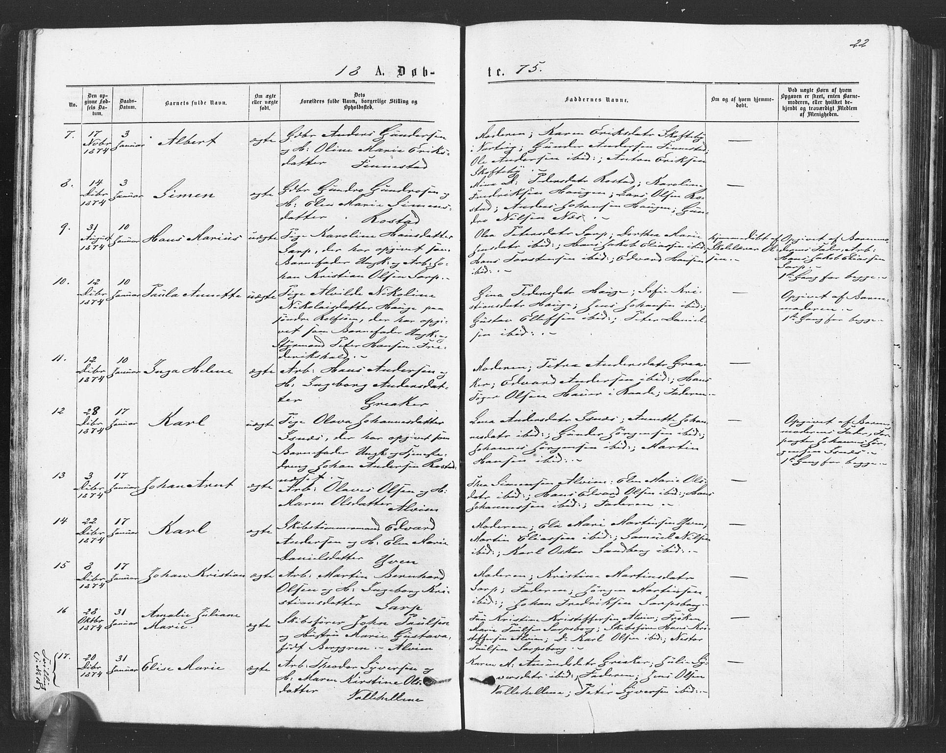 SAO, Tune prestekontor Kirkebøker, F/Fa/L0016: Ministerialbok nr. 16, 1874-1877, s. 22