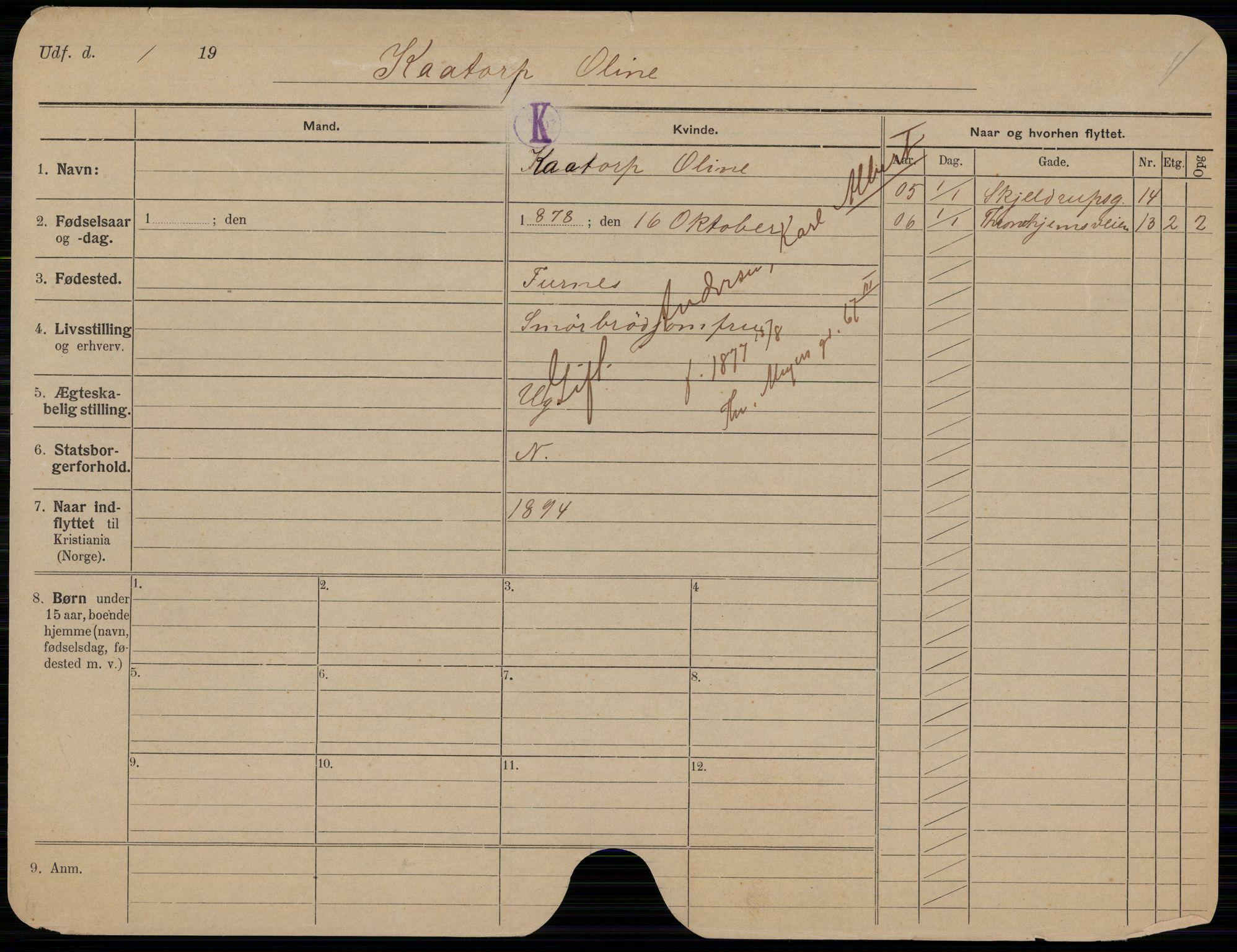 SAO, Oslo folkeregister, Registerkort, K/Kb/L0004: K - Å, 1907