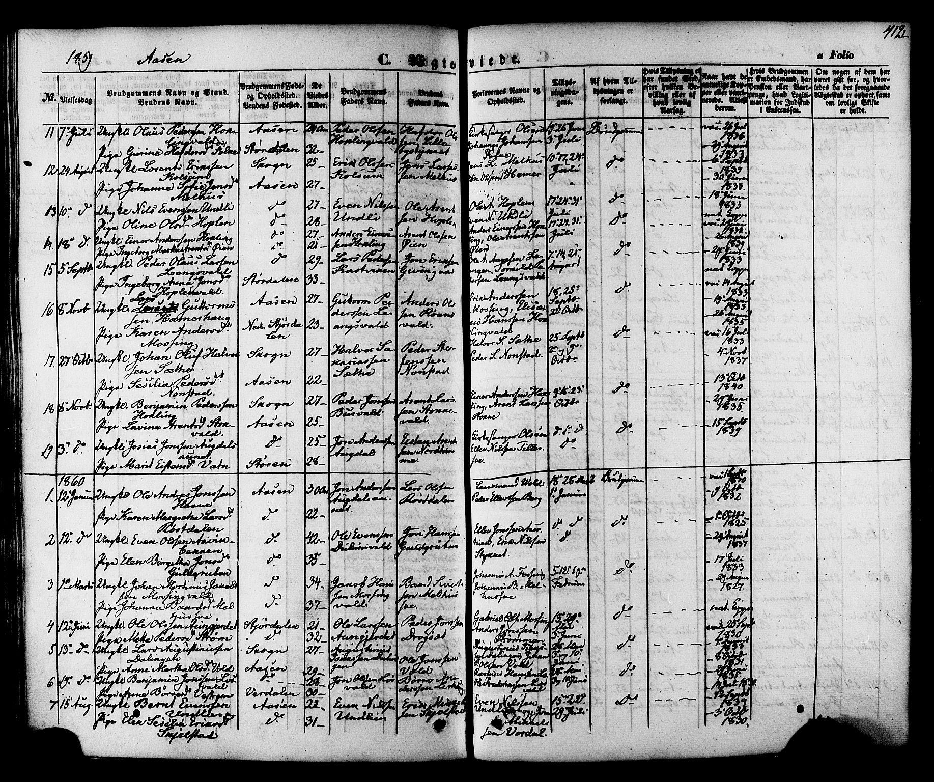 SAT, Ministerialprotokoller, klokkerbøker og fødselsregistre - Nord-Trøndelag, 713/L0116: Ministerialbok nr. 713A07, 1850-1877, s. 412