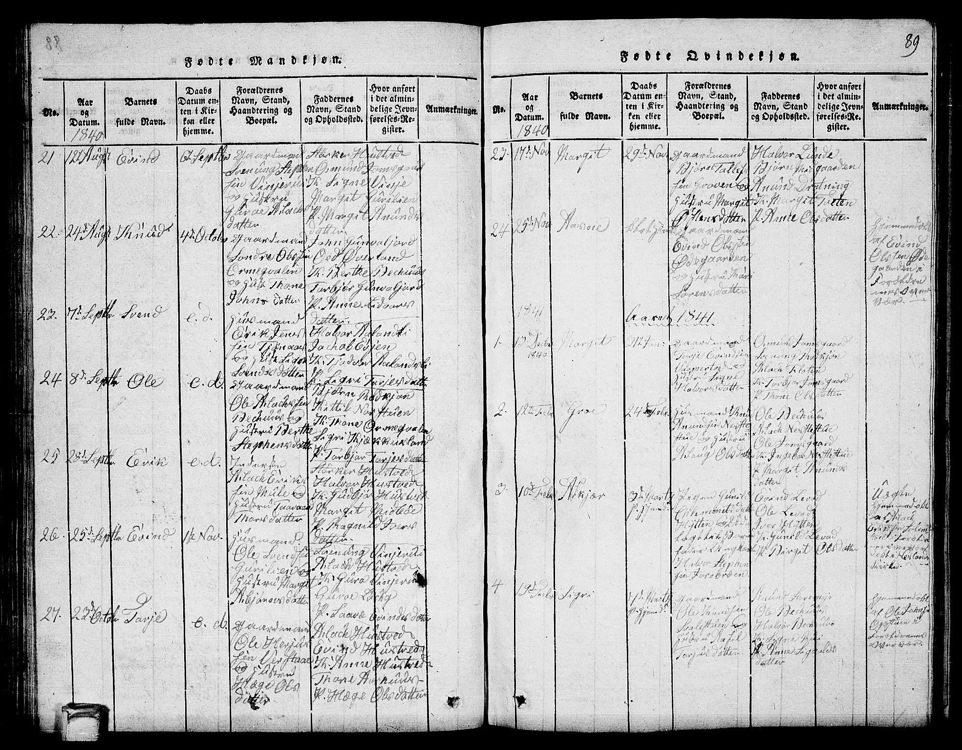 SAKO, Vinje kirkebøker, G/Ga/L0001: Klokkerbok nr. I 1, 1814-1843, s. 89