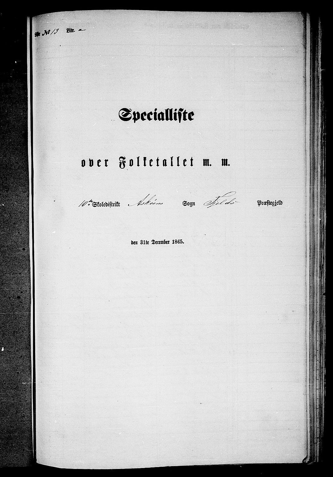 RA, Folketelling 1865 for 1246P Fjell prestegjeld, 1865, s. 205