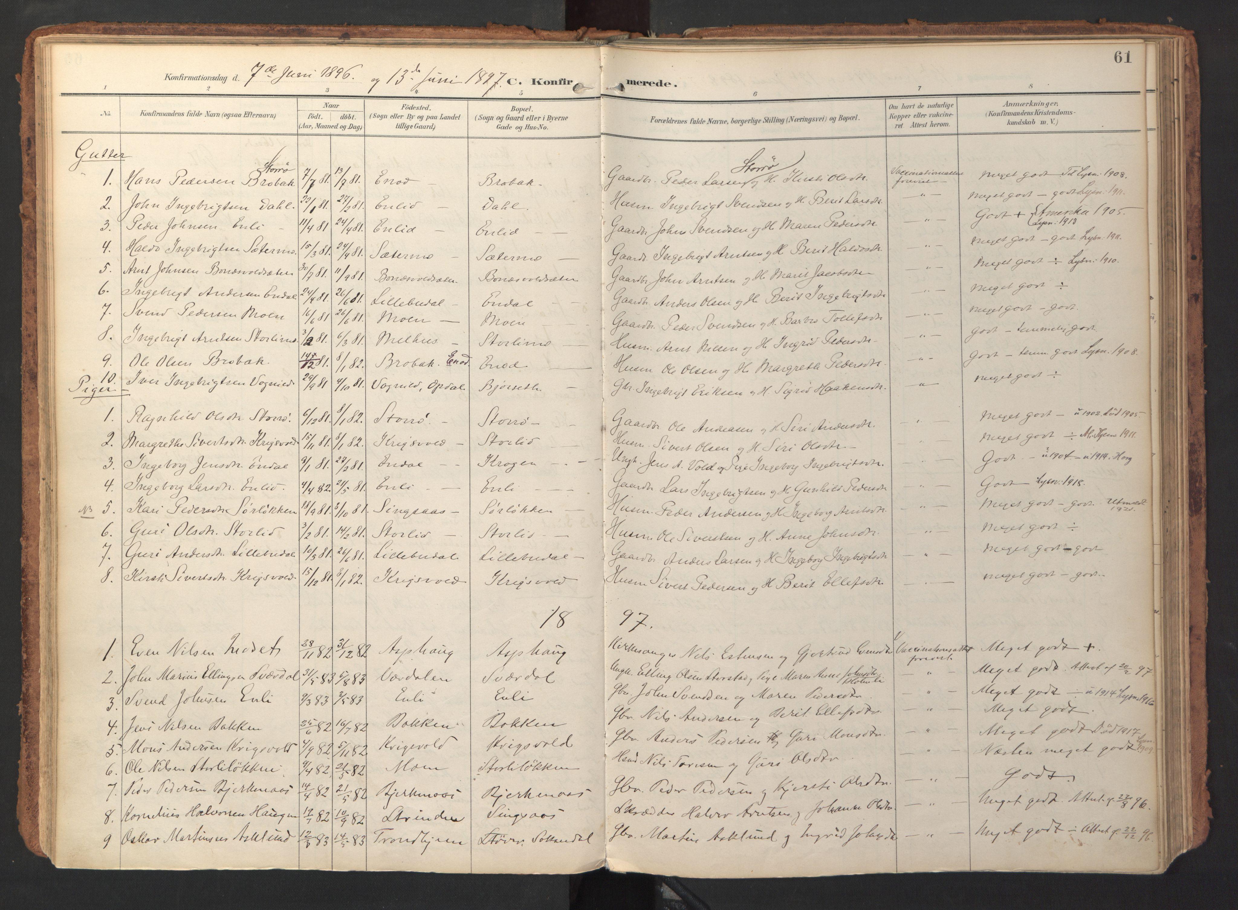 SAT, Ministerialprotokoller, klokkerbøker og fødselsregistre - Sør-Trøndelag, 690/L1050: Ministerialbok nr. 690A01, 1889-1929, s. 61
