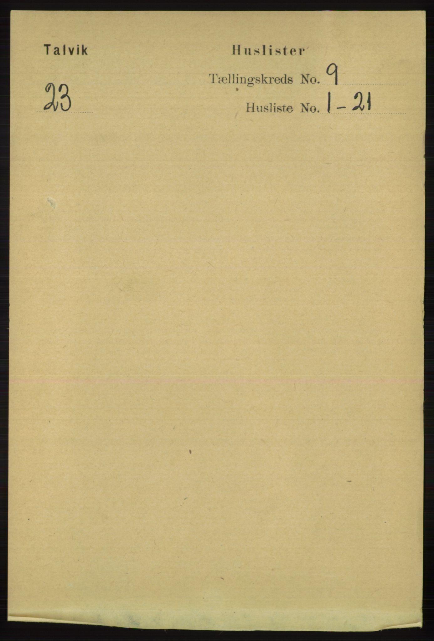 RA, Folketelling 1891 for 2013 Talvik herred, 1891, s. 2141