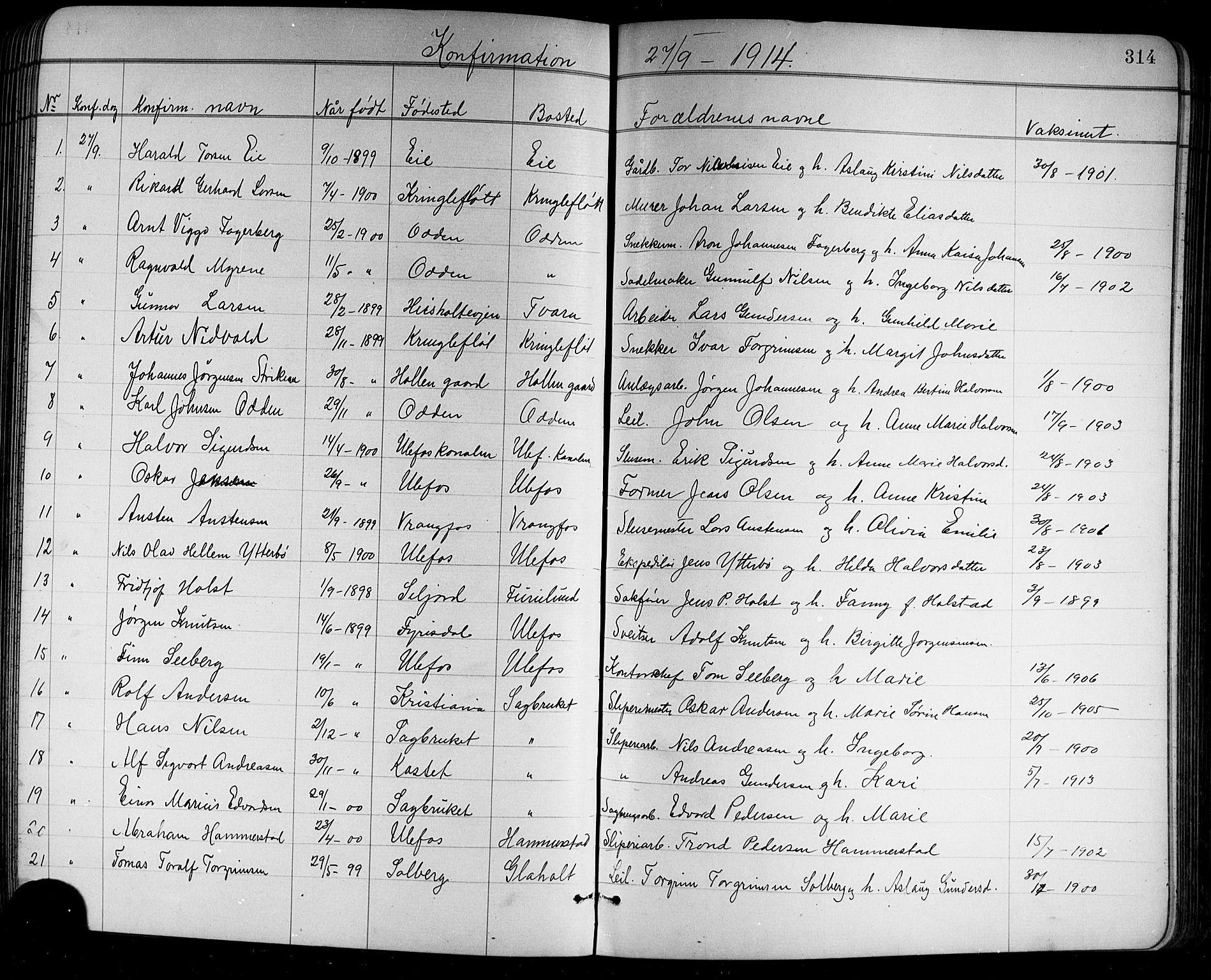 SAKO, Holla kirkebøker, G/Ga/L0005: Klokkerbok nr. I 5, 1891-1917, s. 314