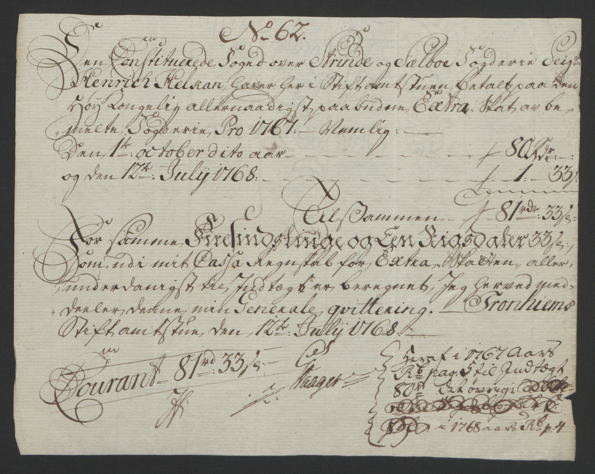 RA, Rentekammeret inntil 1814, Reviderte regnskaper, Fogderegnskap, R61/L4180: Ekstraskatten Strinda og Selbu, 1762-1767, s. 400