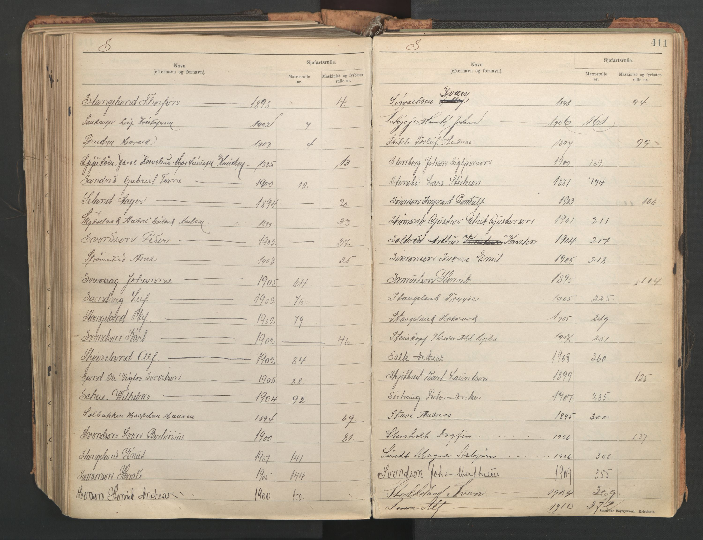 SAST, Stavanger sjømannskontor, F/Fb/Fba/L0005: Navneregister sjøfartsruller, etternavnsregister til hovedrulle 1921, 1921-1947, s. 105