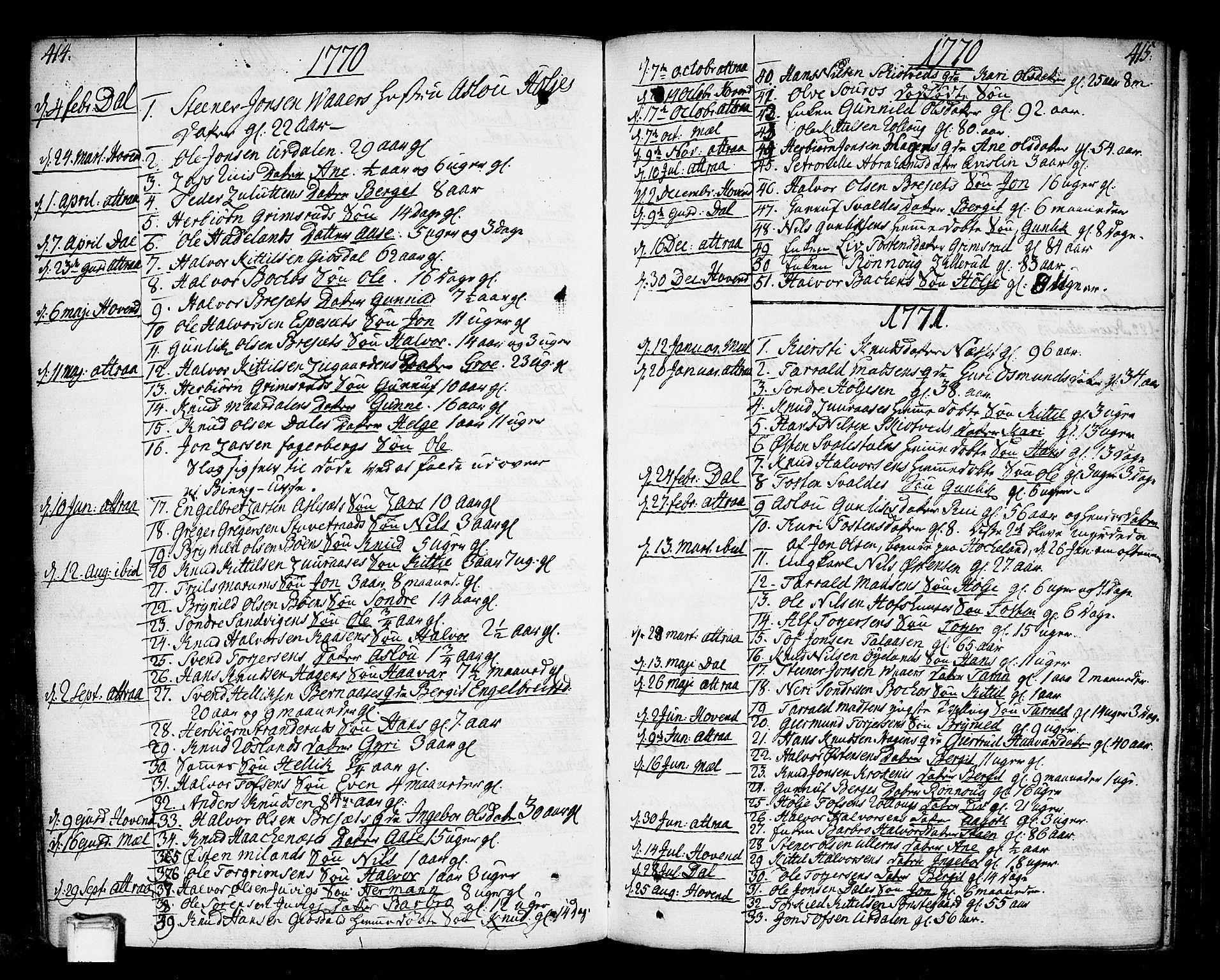 SAKO, Tinn kirkebøker, F/Fa/L0002: Ministerialbok nr. I 2, 1757-1810, s. 414-415