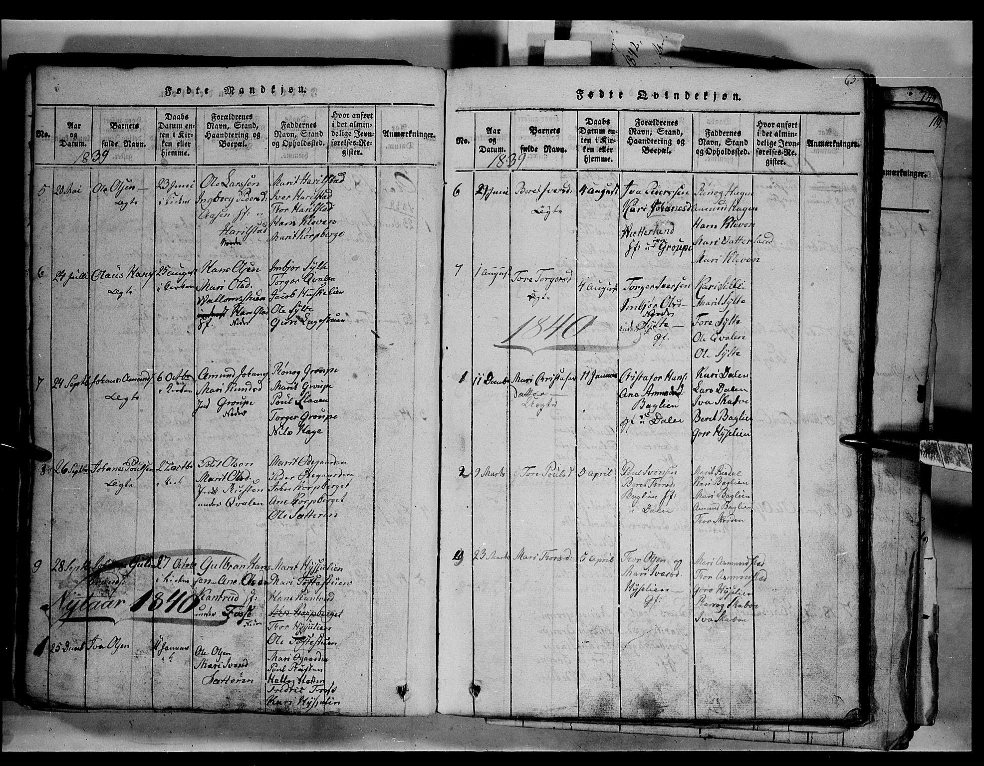SAH, Fron prestekontor, H/Ha/Hab/L0003: Klokkerbok nr. 3, 1816-1850, s. 63
