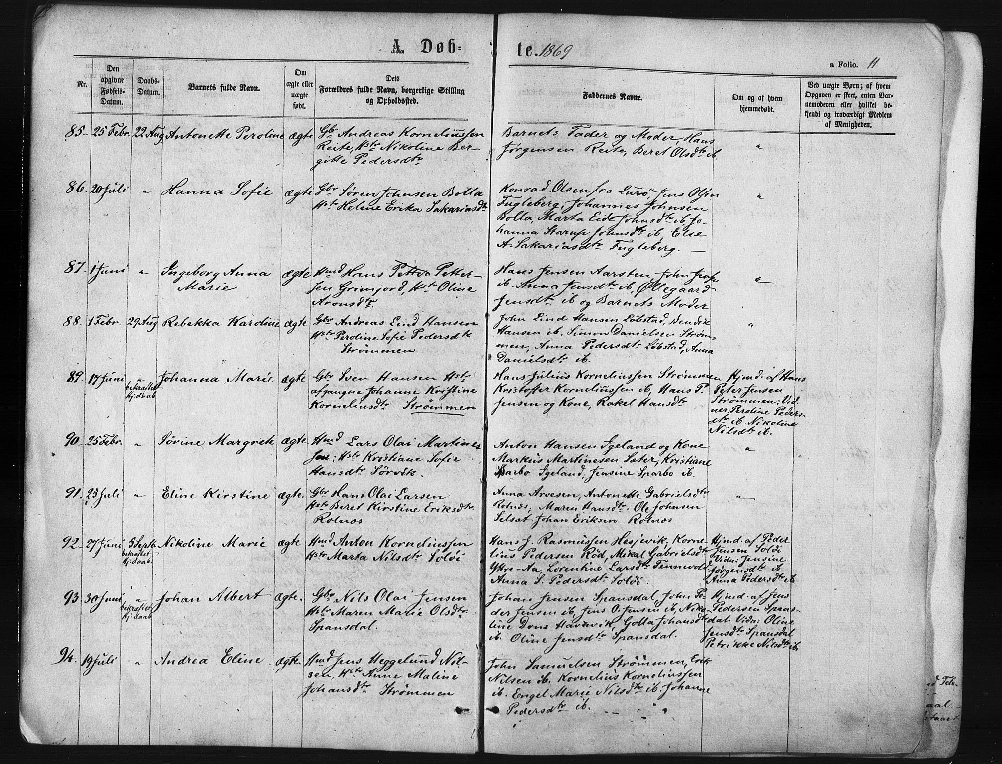 SATØ, Ibestad sokneprestembete, Ministerialbok nr. 10, 1869-1879, s. 11