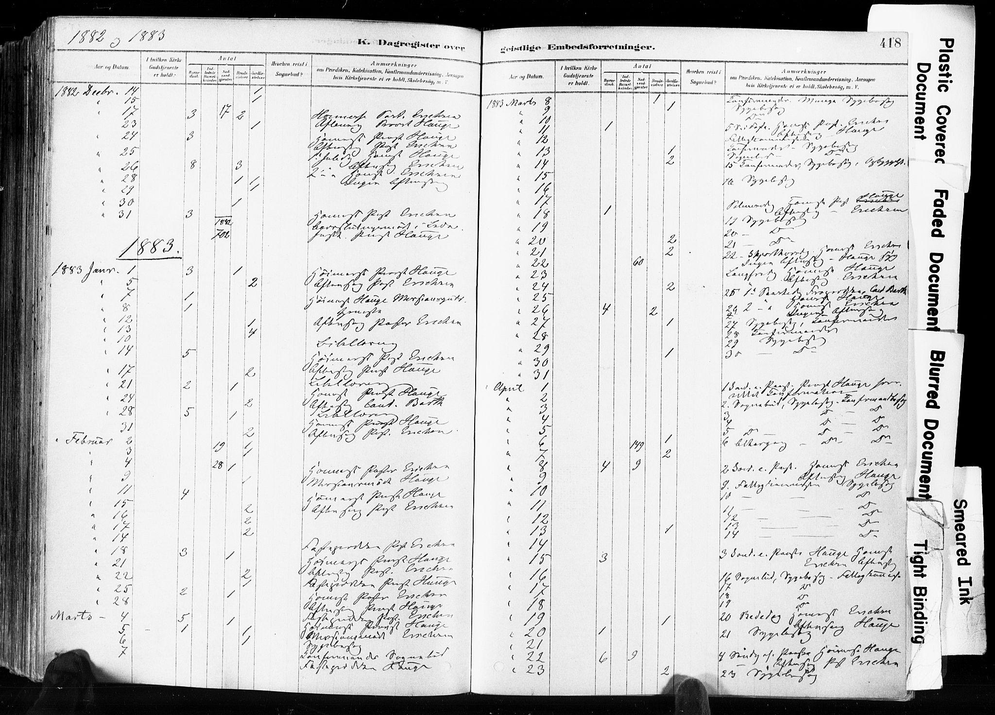 SAKO, Skien kirkebøker, F/Fa/L0009: Ministerialbok nr. 9, 1878-1890, s. 418