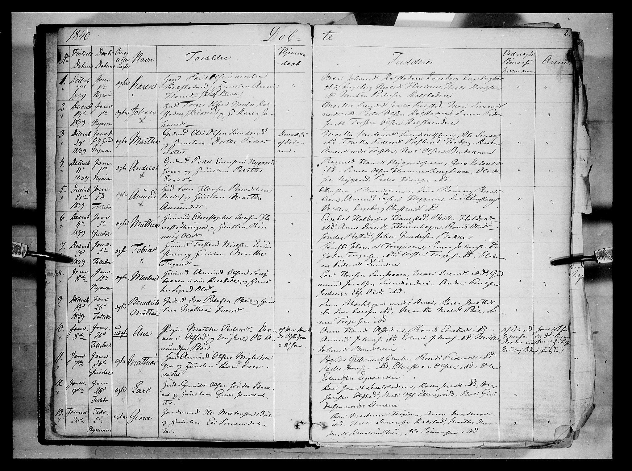 SAH, Gausdal prestekontor, Ministerialbok nr. 7, 1840-1850, s. 2