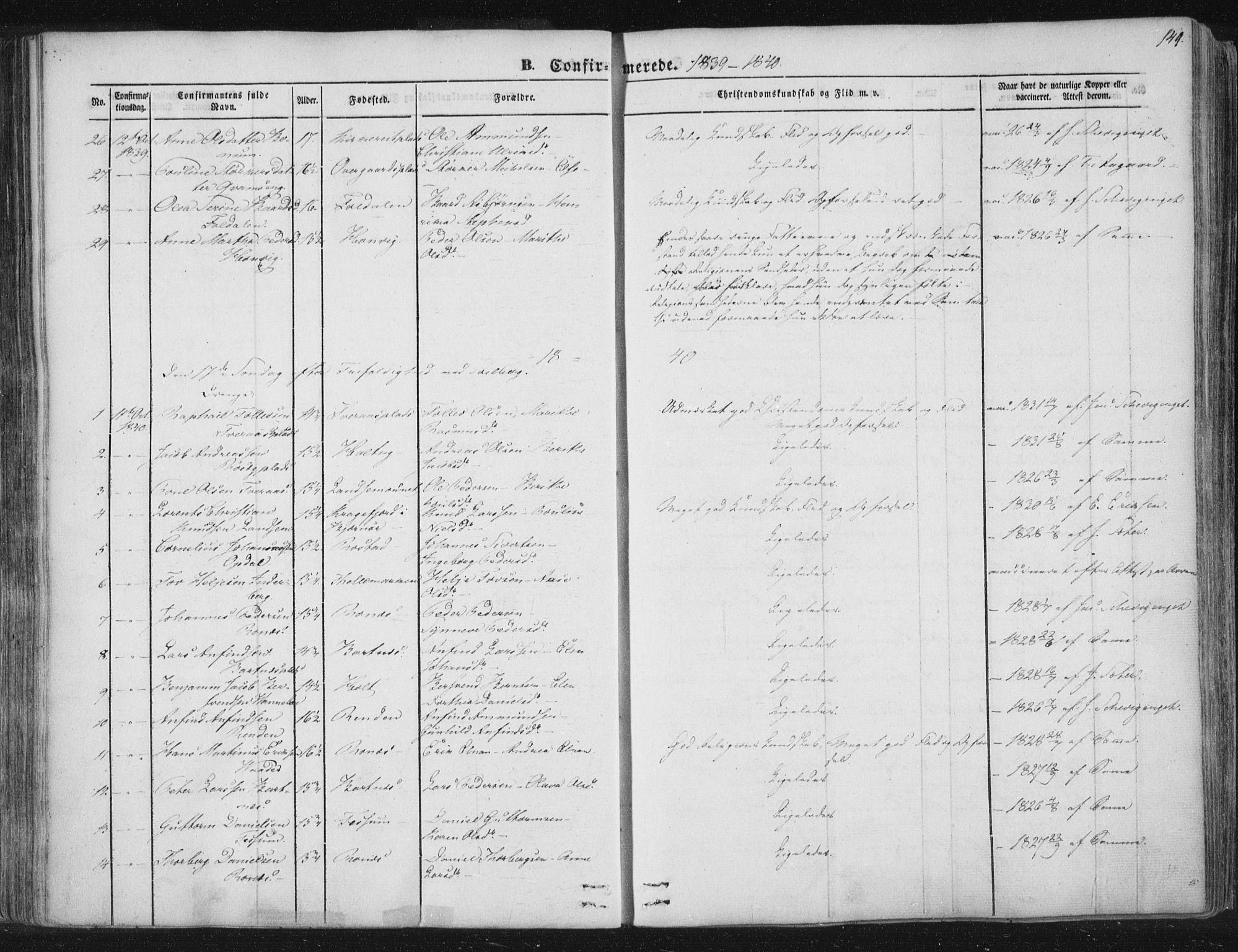 SAT, Ministerialprotokoller, klokkerbøker og fødselsregistre - Nord-Trøndelag, 741/L0392: Ministerialbok nr. 741A06, 1836-1848, s. 149