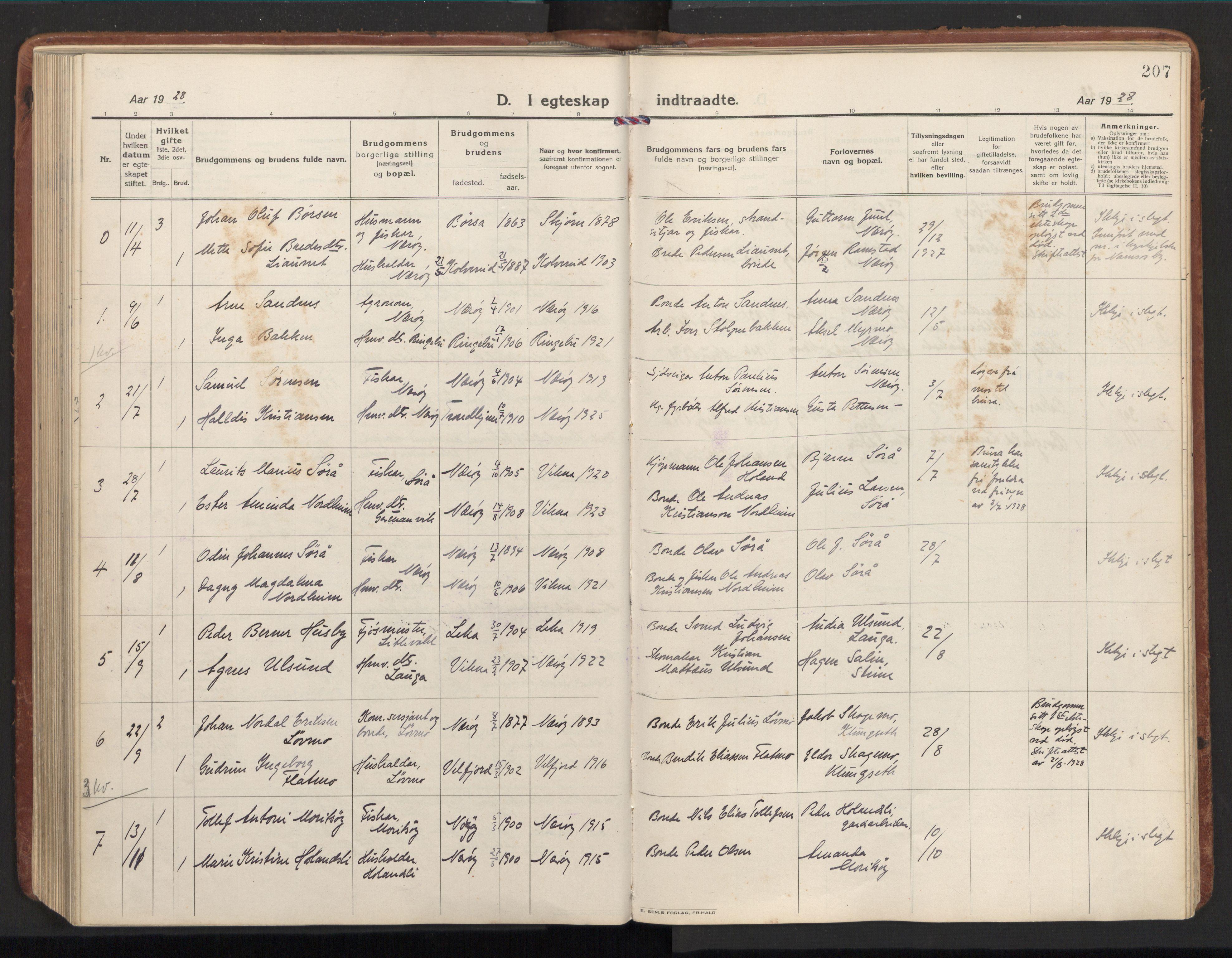 SAT, Ministerialprotokoller, klokkerbøker og fødselsregistre - Nord-Trøndelag, 784/L0678: Ministerialbok nr. 784A13, 1921-1938, s. 207