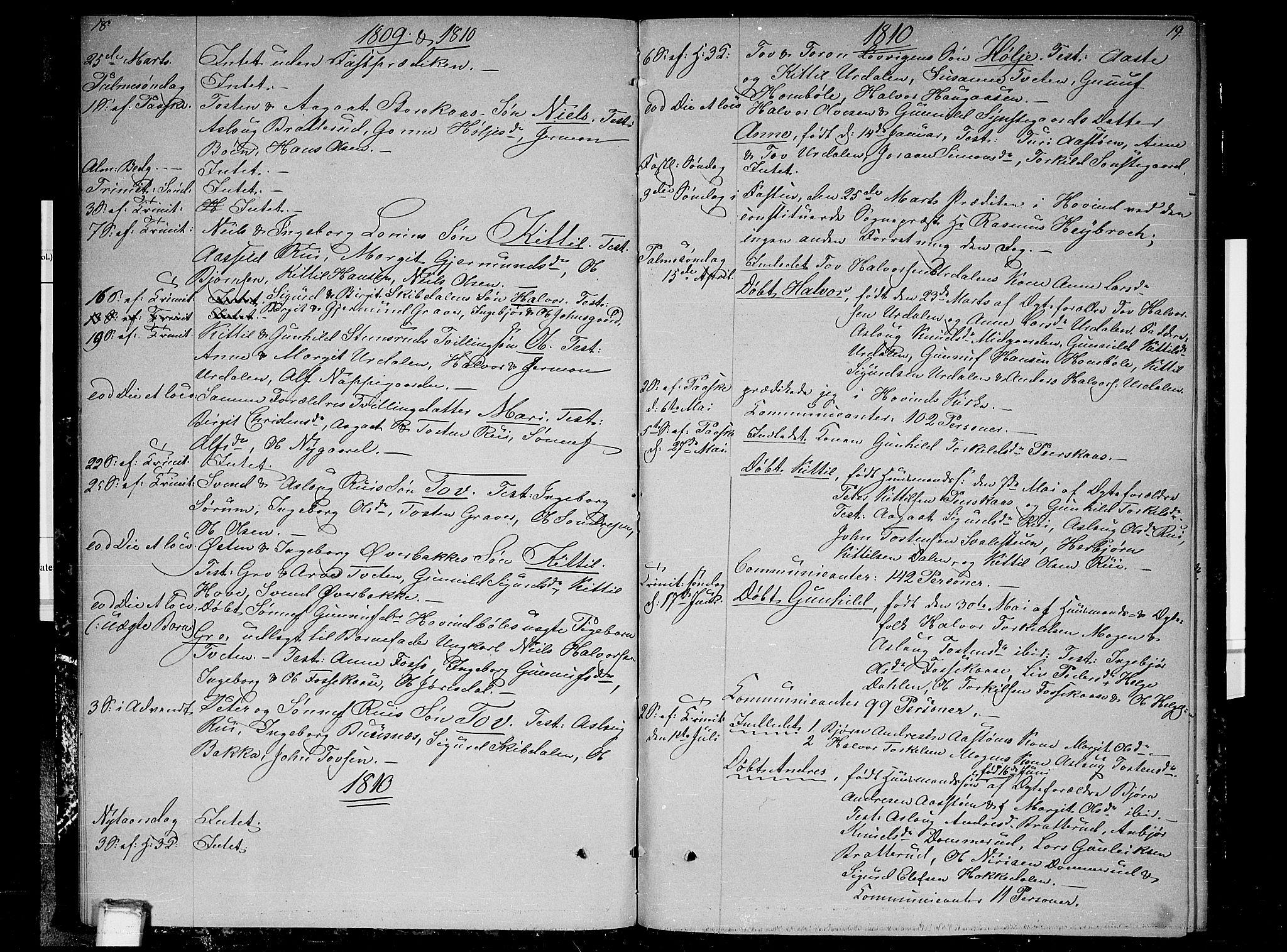 SAKO, Gransherad kirkebøker, F/Fb/L0001: Ministerialbok nr. II 1, 1800-1814, s. 18-19