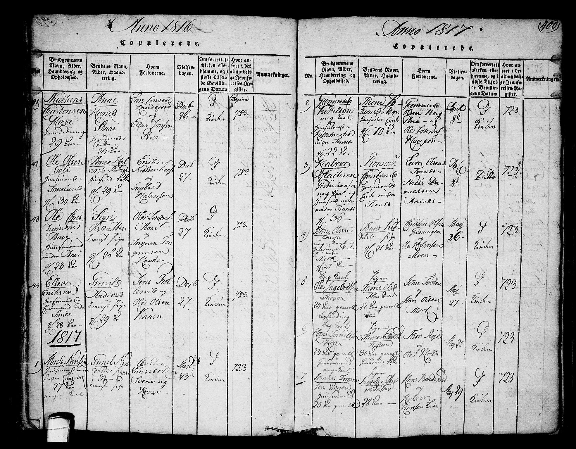 SAKO, Heddal kirkebøker, F/Fa/L0005: Ministerialbok nr. I 5, 1814-1837, s. 399-400