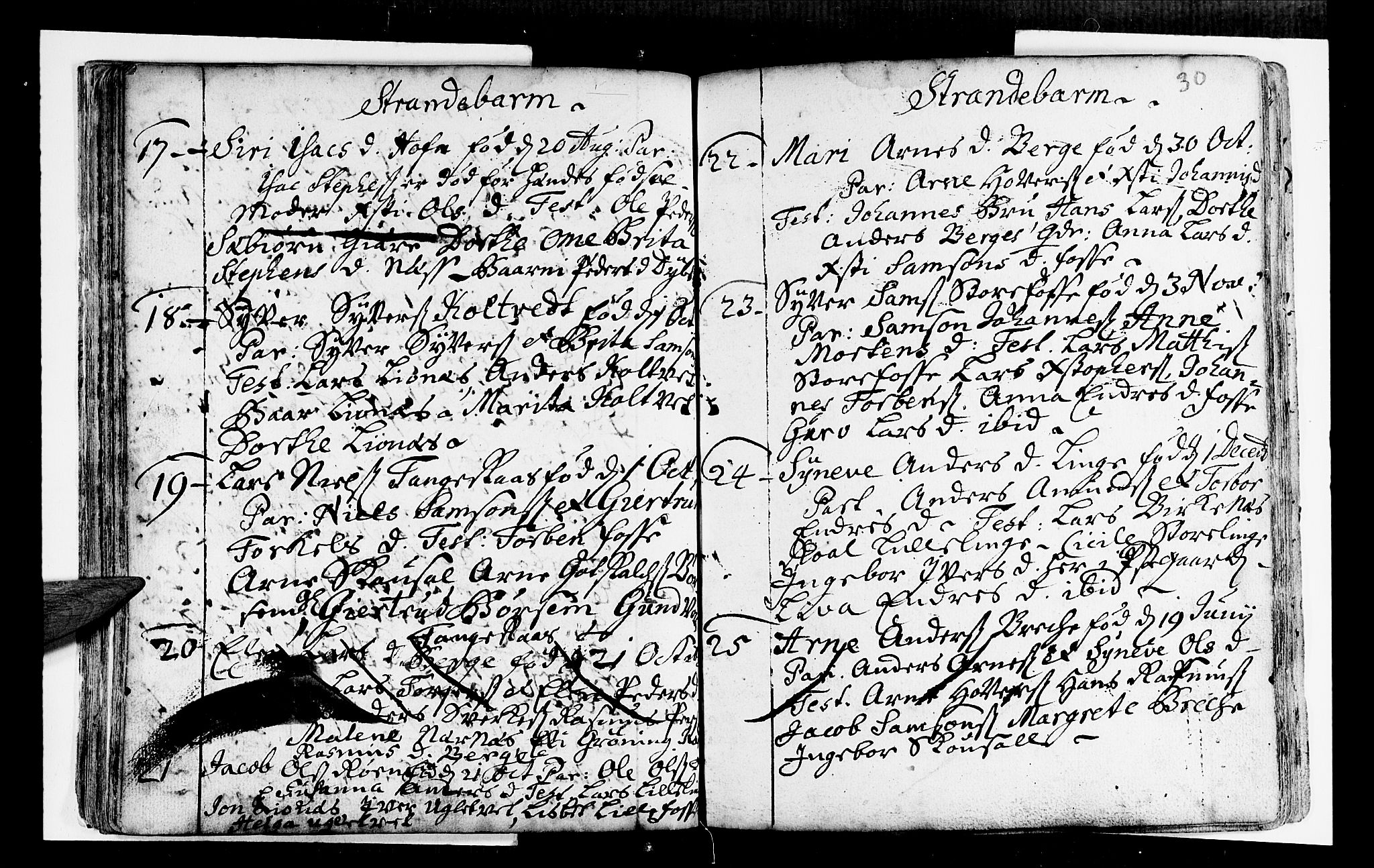 SAB, Strandebarm Sokneprestembete, H/Haa: Ministerialbok nr. A 2 /1, 1727-1750, s. 30
