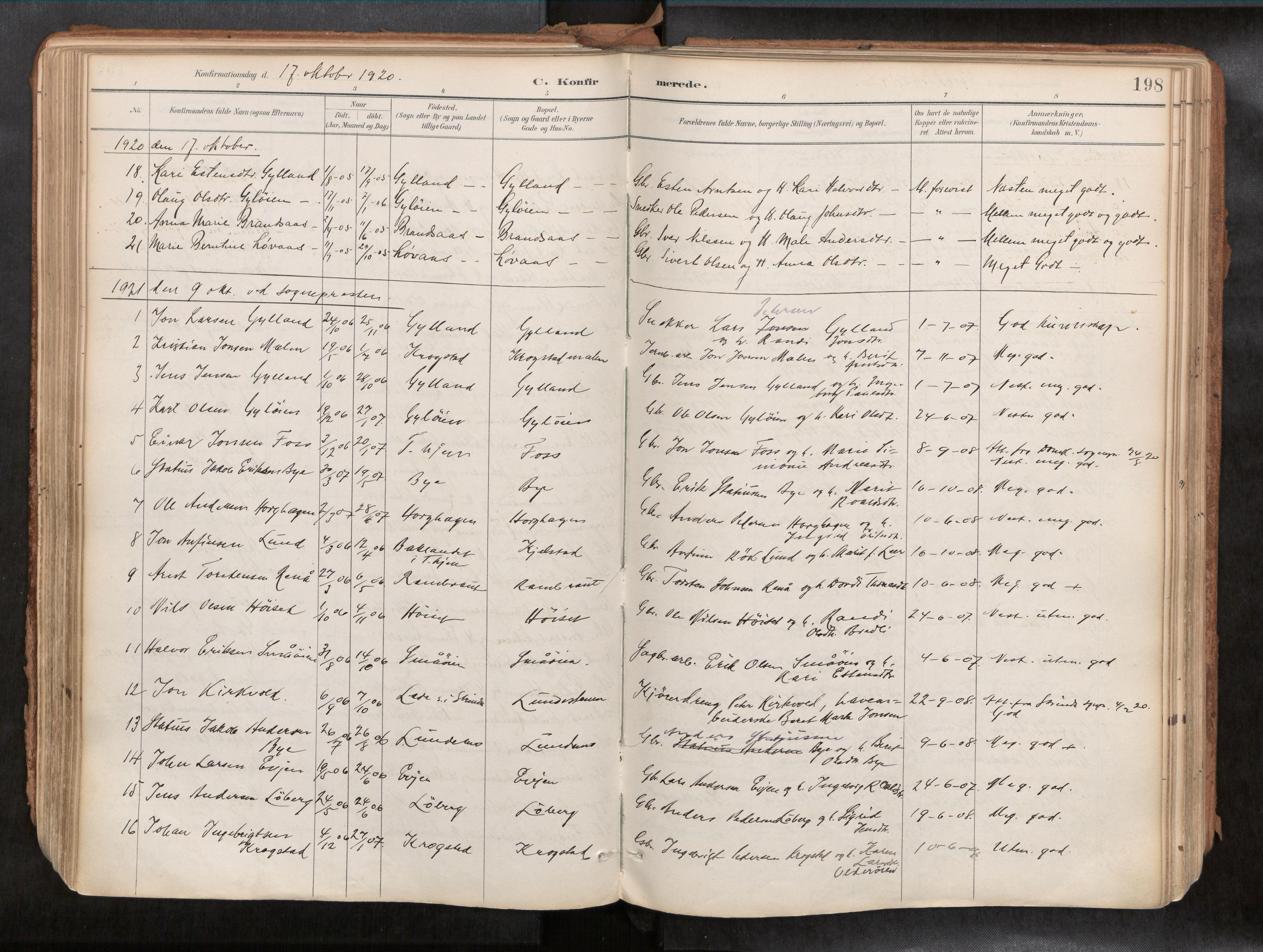 SAT, Ministerialprotokoller, klokkerbøker og fødselsregistre - Sør-Trøndelag, 692/L1105b: Ministerialbok nr. 692A06, 1891-1934, s. 198