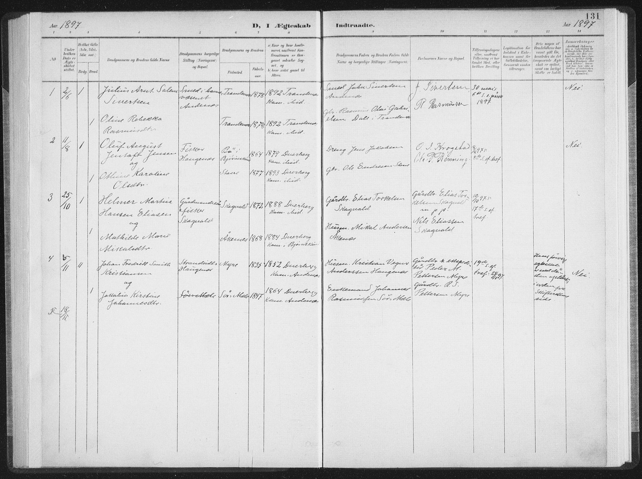 SAT, Ministerialprotokoller, klokkerbøker og fødselsregistre - Nordland, 897/L1400: Ministerialbok nr. 897A07, 1897-1908, s. 131
