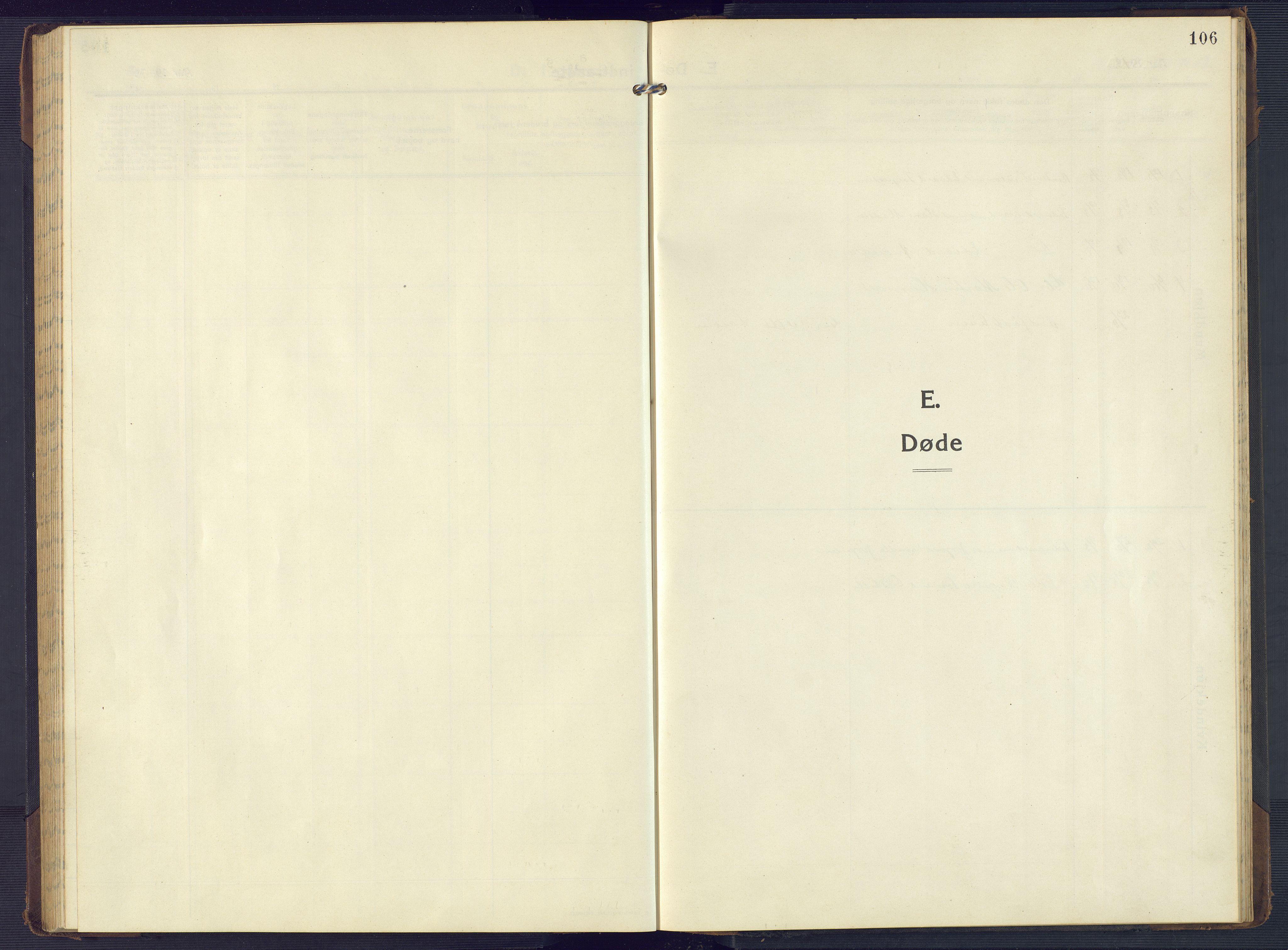 SAK, Mandal sokneprestkontor, F/Fb/Fbb/L0005: Klokkerbok nr. B 5, 1913-1957, s. 106